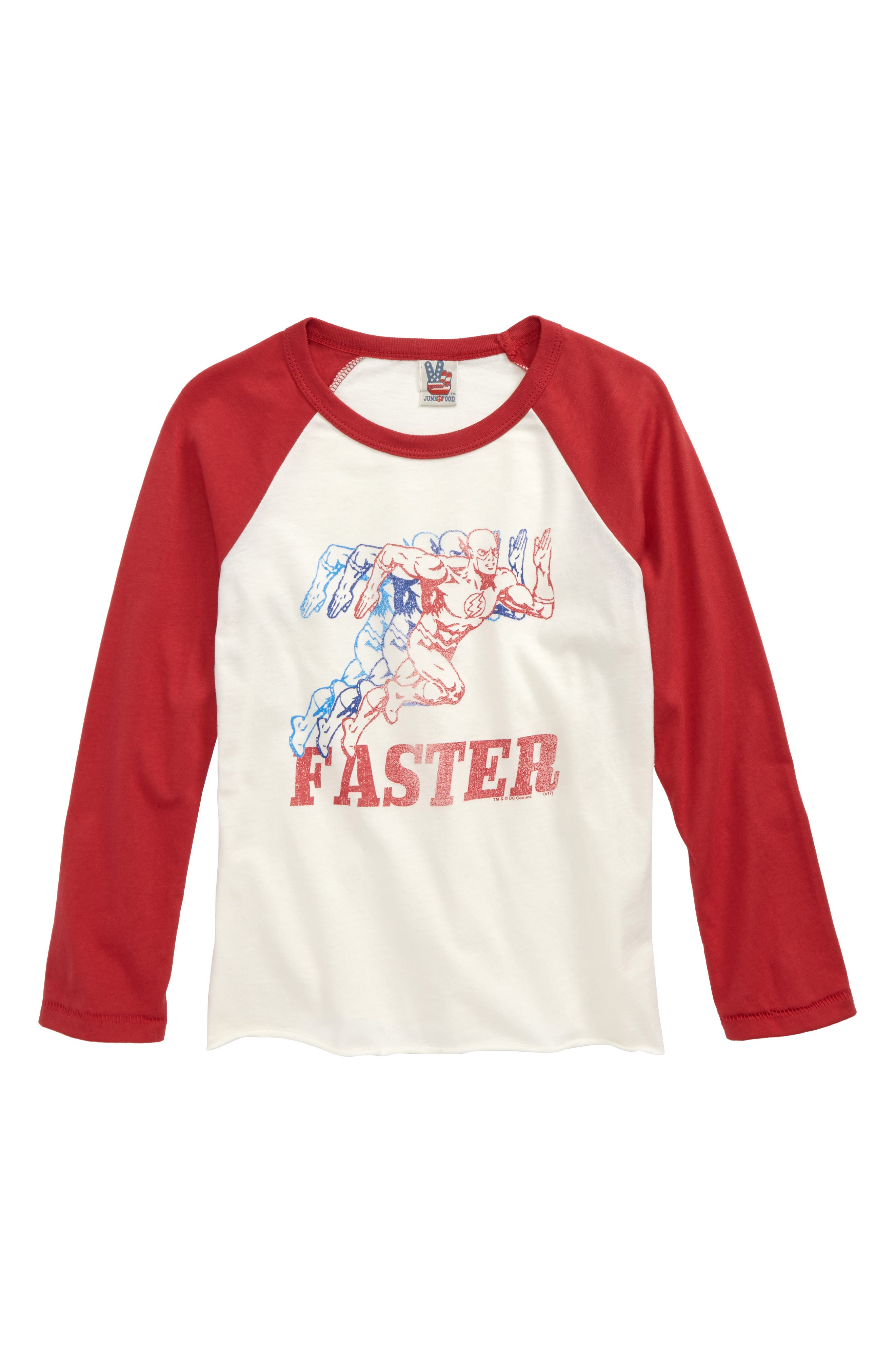 The Flash Graphic Raglan Shirt,                             Main thumbnail 1, color,                             Ivory/ Rooster Red