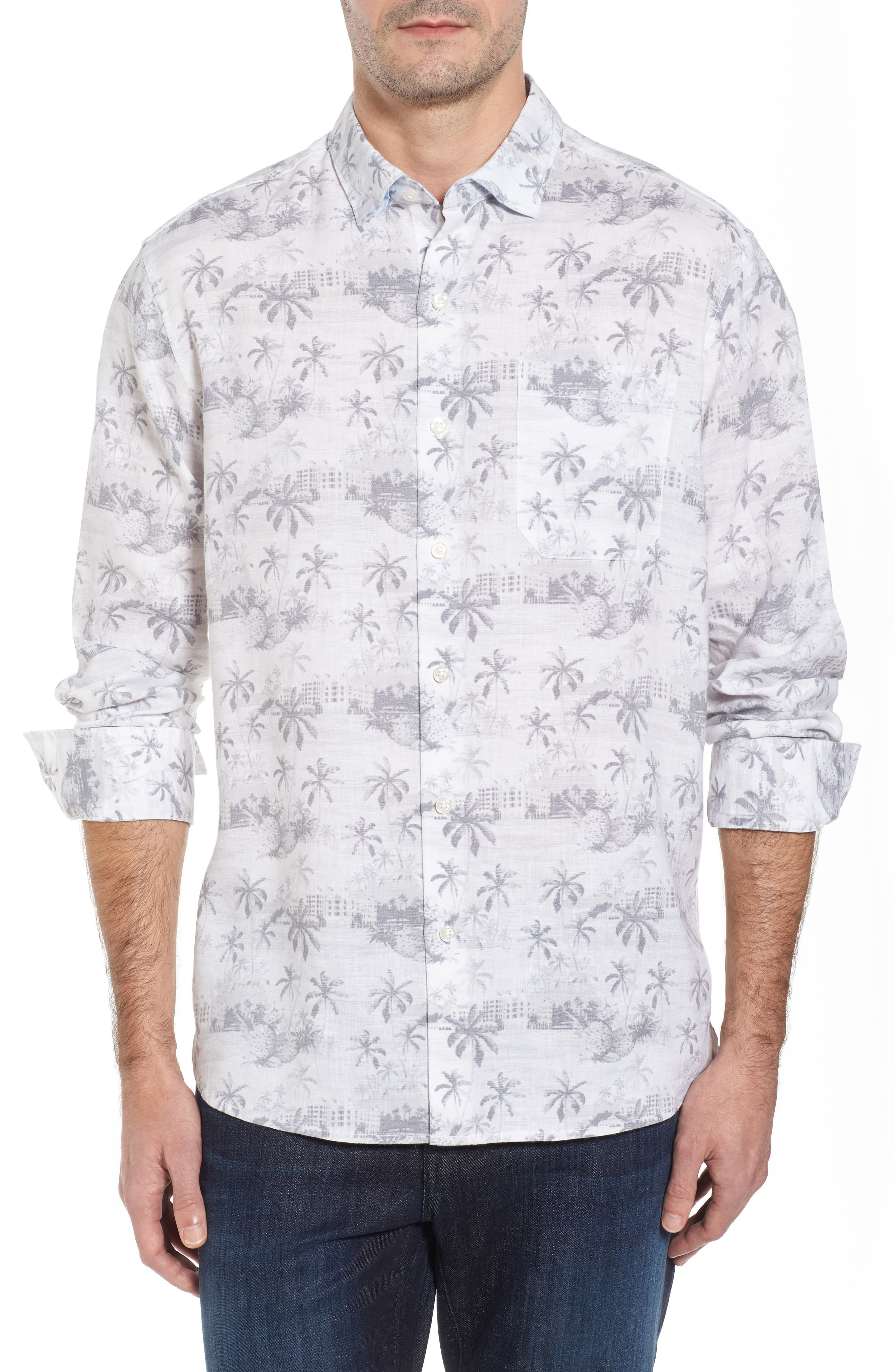 Tropical Toile Sport Shirt,                         Main,                         color, Micro Chip