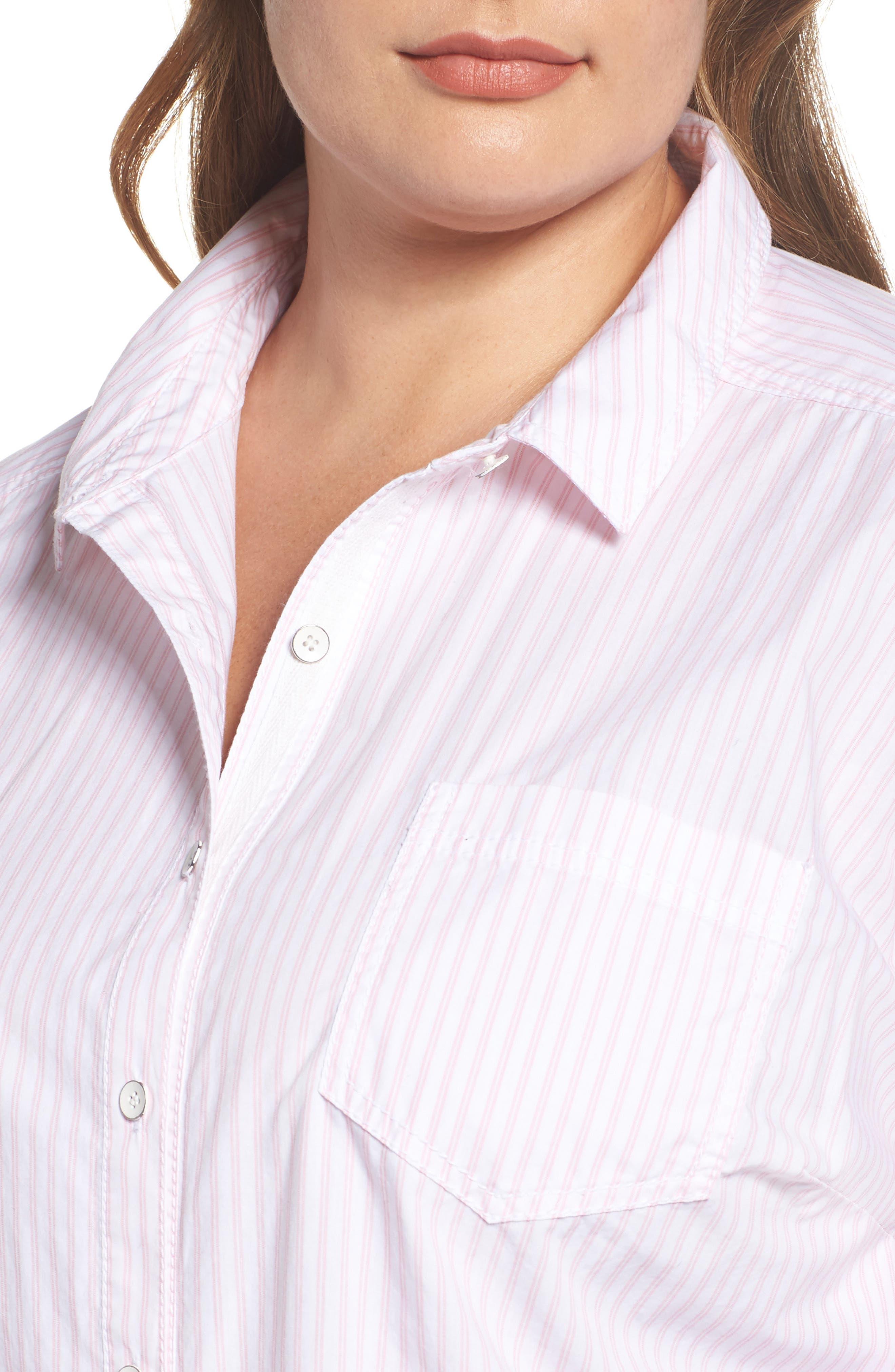 Alternate Image 4  - Caslon® Stripe Button Front Shirt (Plus Size)