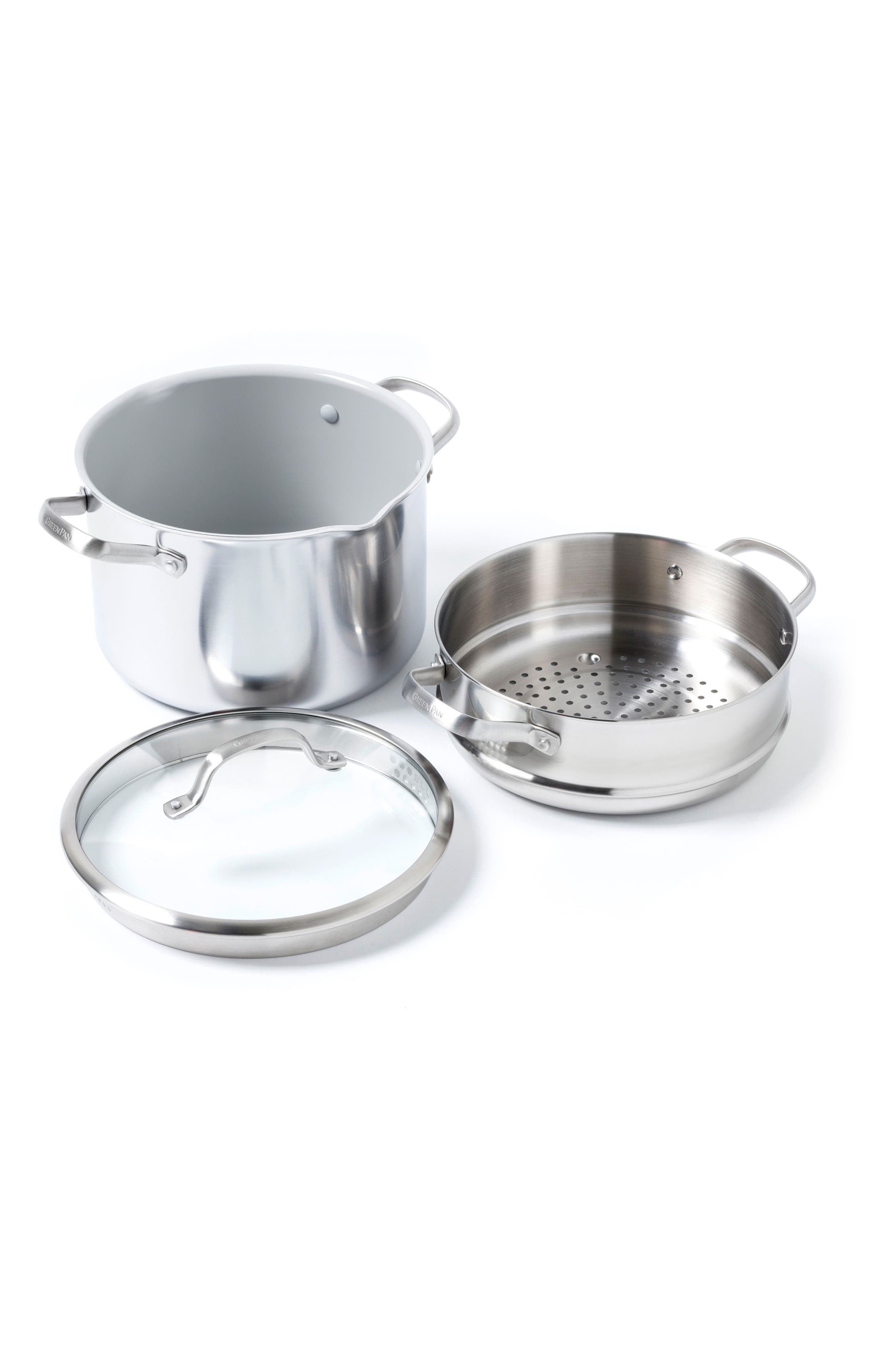 Alternate Image 1 Selected - GreenPan Venice Pro 8-Quart Multilayer Stainless Steel Ceramic Nonstick Stock Pot with Steamer Inset & Glass Lid