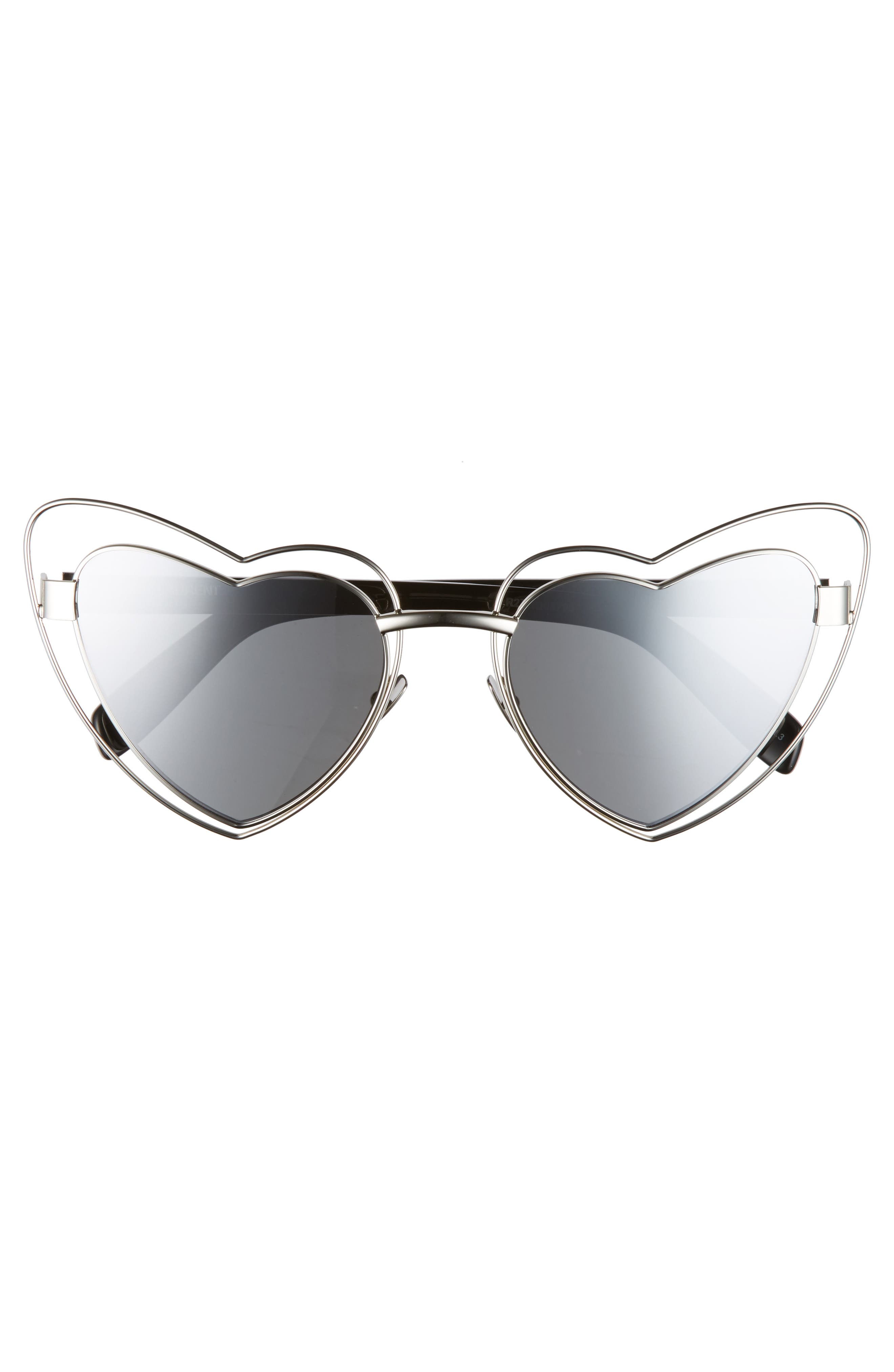SL197 Loulou 57mm Heart Shaped Sunglasses,                             Alternate thumbnail 3, color,                             Silver