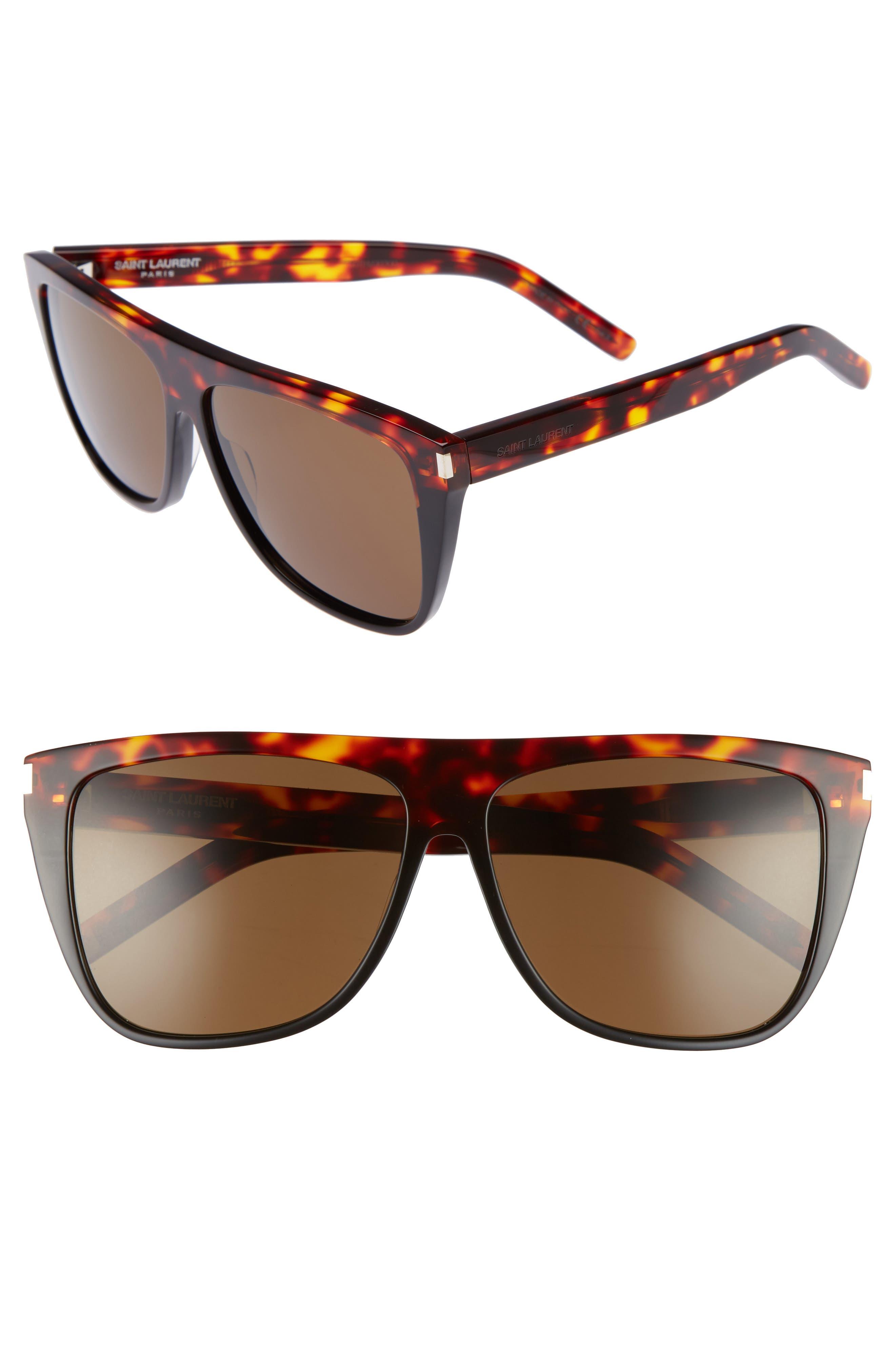 Saint Laurent Sunglasses SL1 59MM FLAT TOP SUNGLASSES - HAVANA