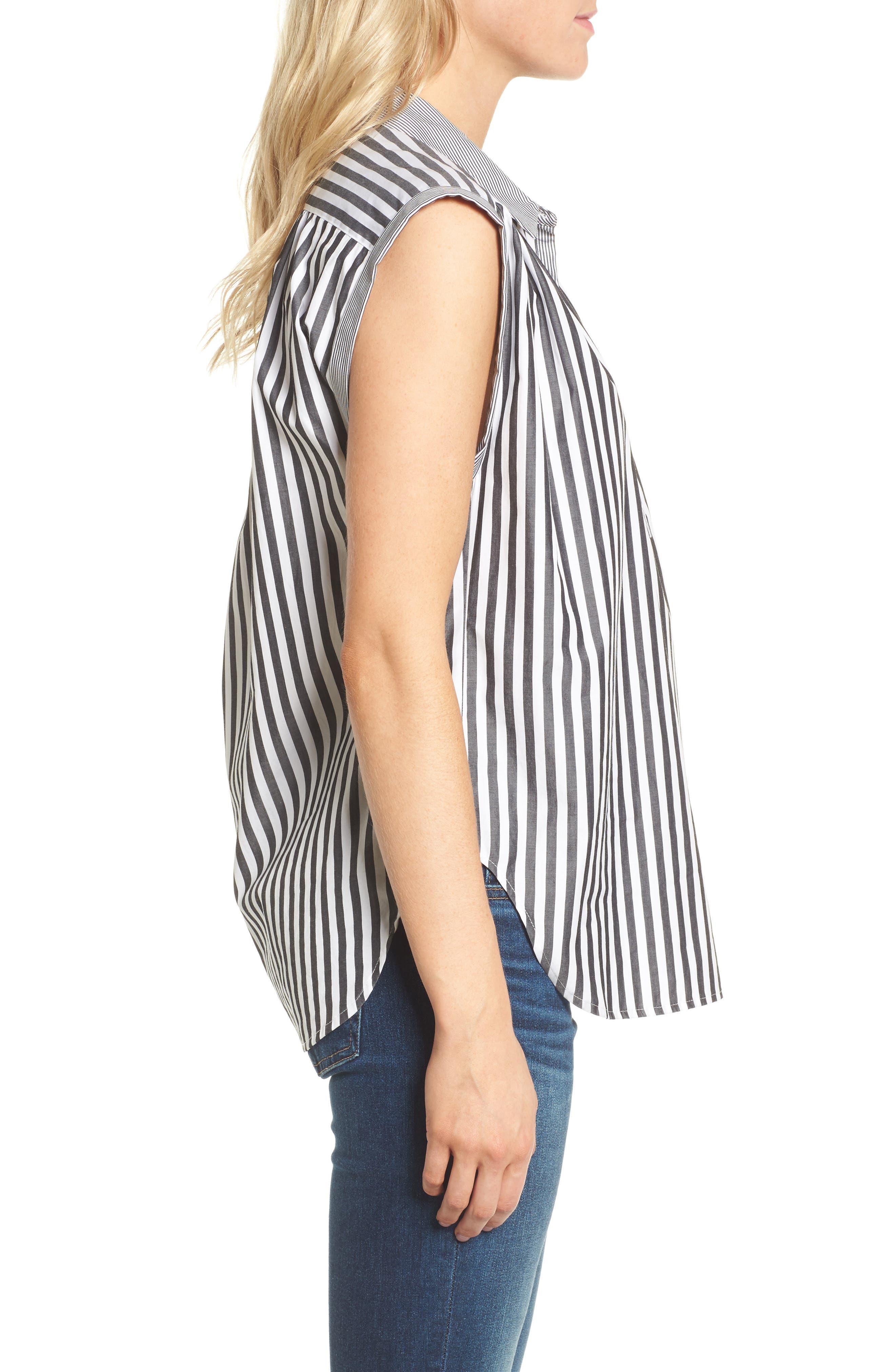 Abigail Stripe Top,                             Alternate thumbnail 3, color,                             Black/ White
