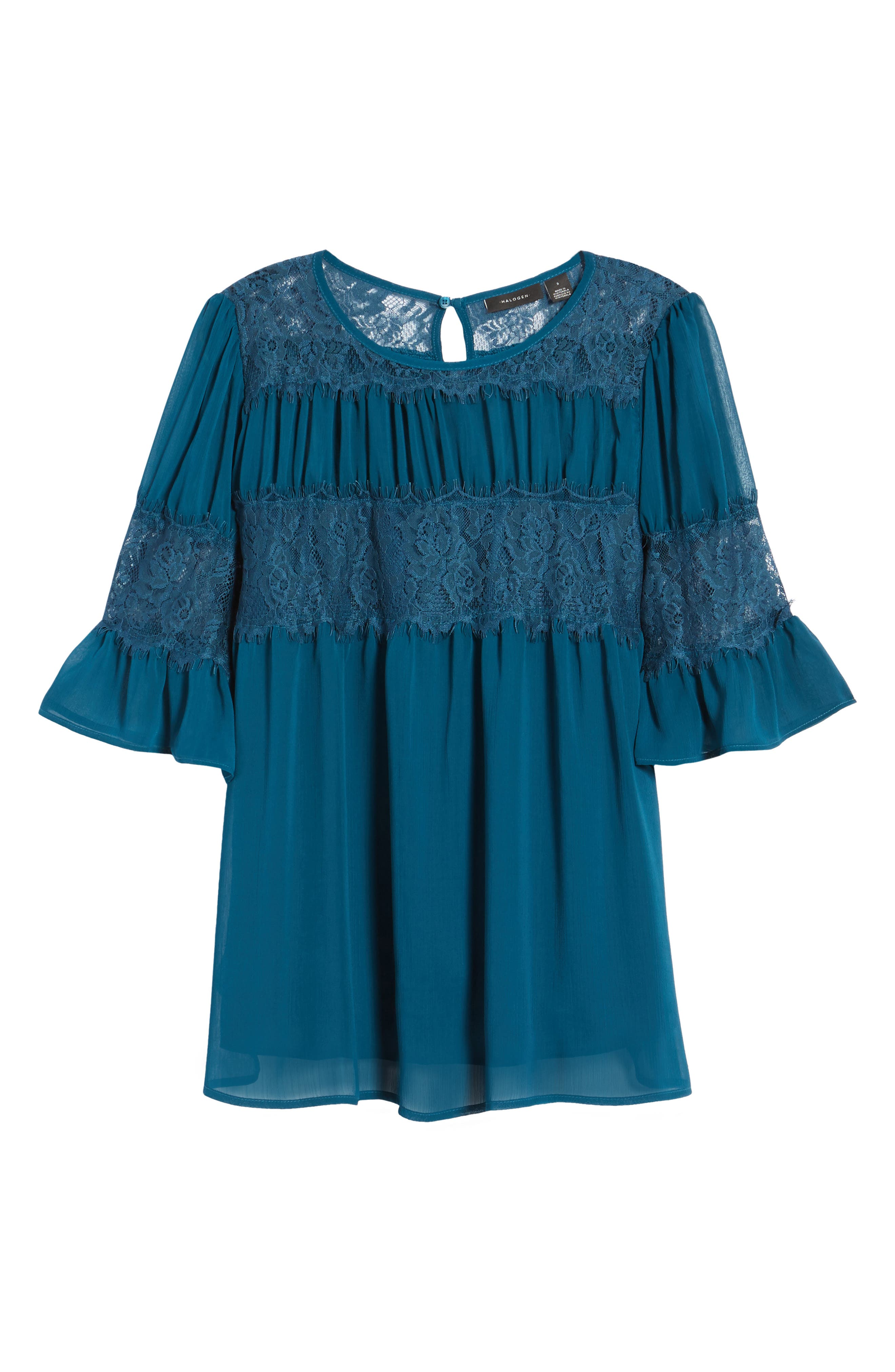Alternate Image 6  - Halogen® Lace Panel Pleated Blouse