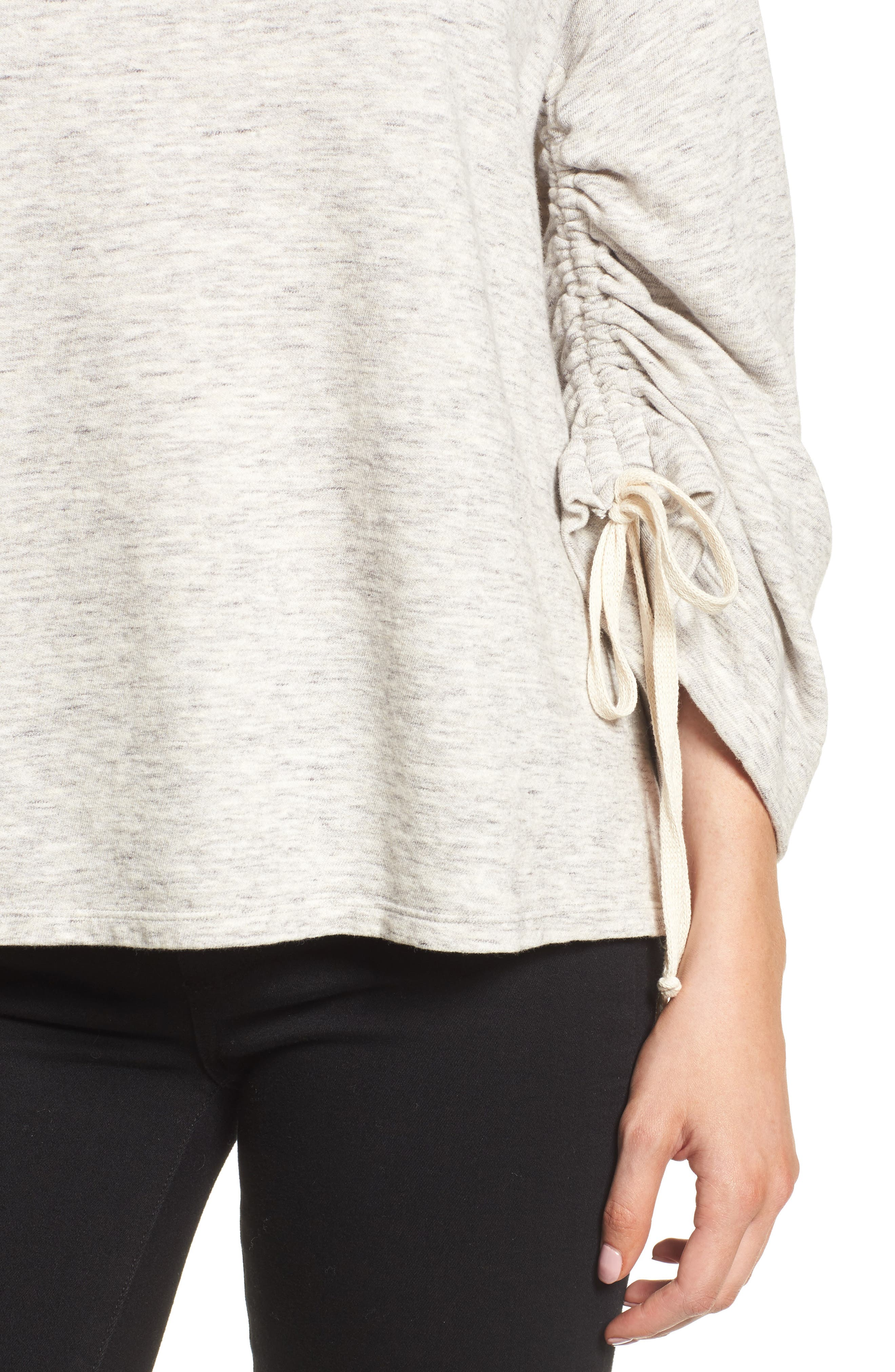 Ruched Sleeve Sweatshirt,                             Alternate thumbnail 4, color,                             Heather Grey