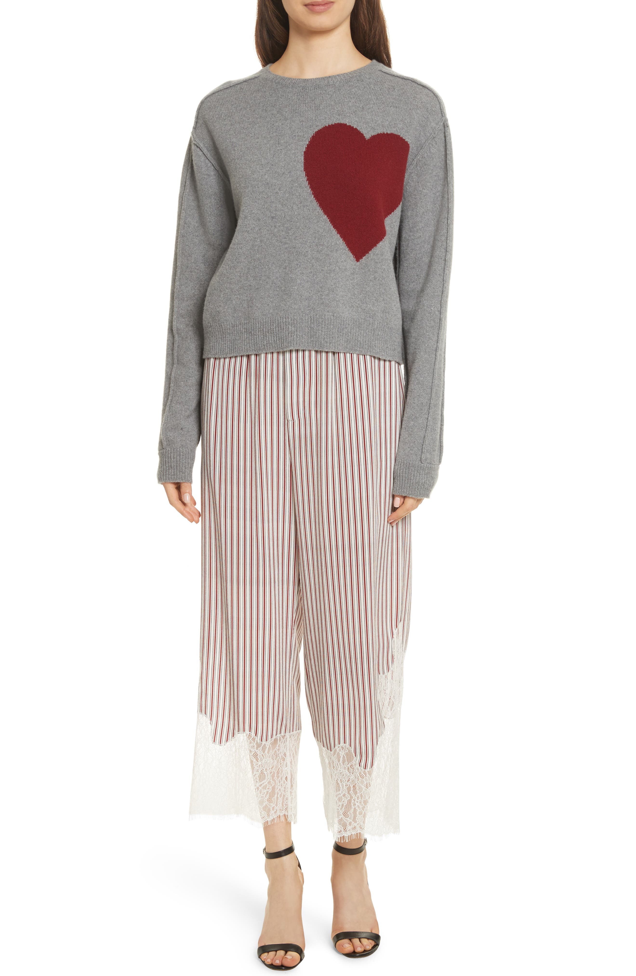 Heart Wool & Cashmere Sweater,                             Alternate thumbnail 2, color,                             Grey