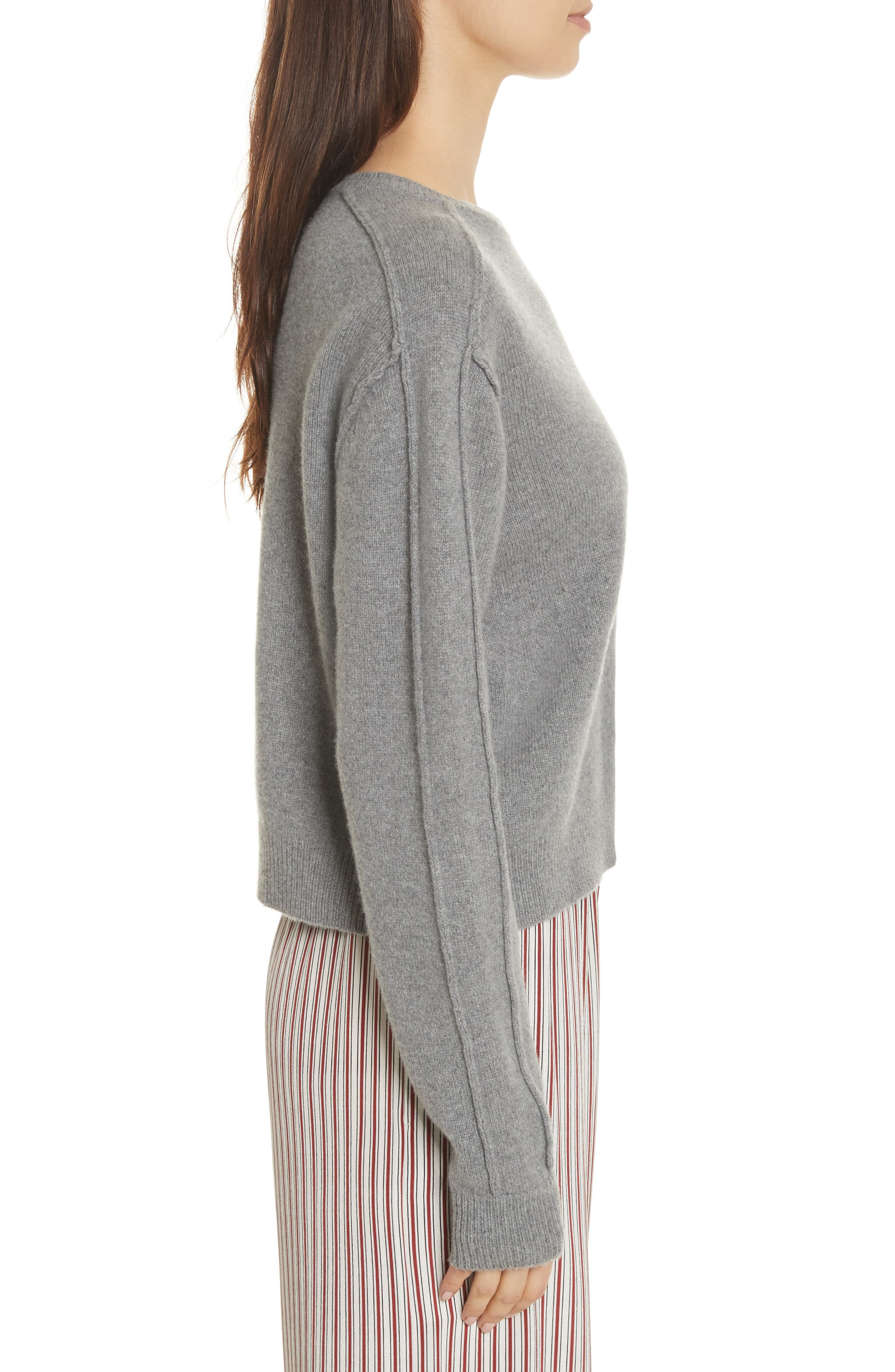 Heart Wool & Cashmere Sweater,                             Alternate thumbnail 4, color,                             Grey