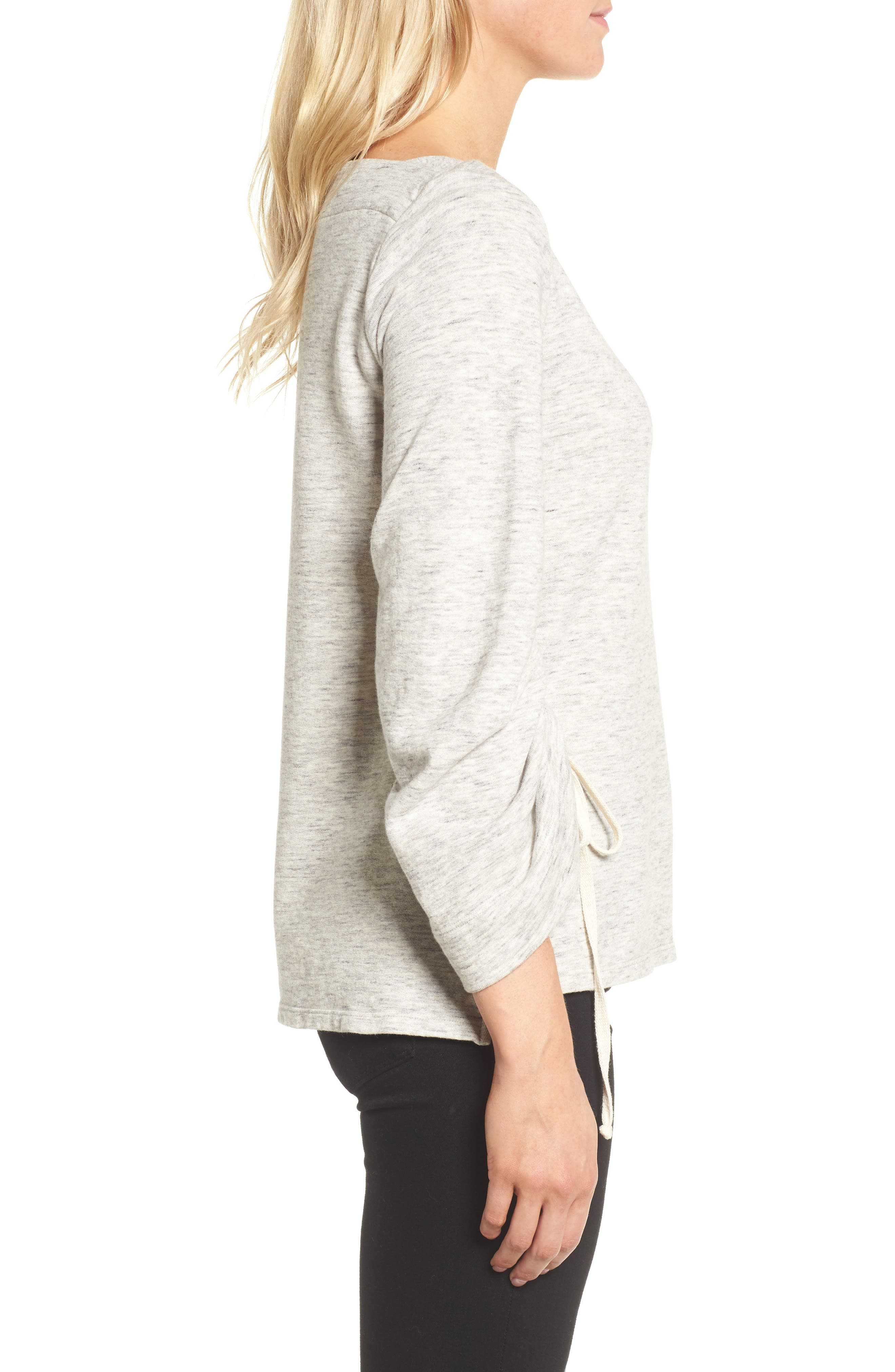 Ruched Sleeve Sweatshirt,                             Alternate thumbnail 3, color,                             Heather Grey