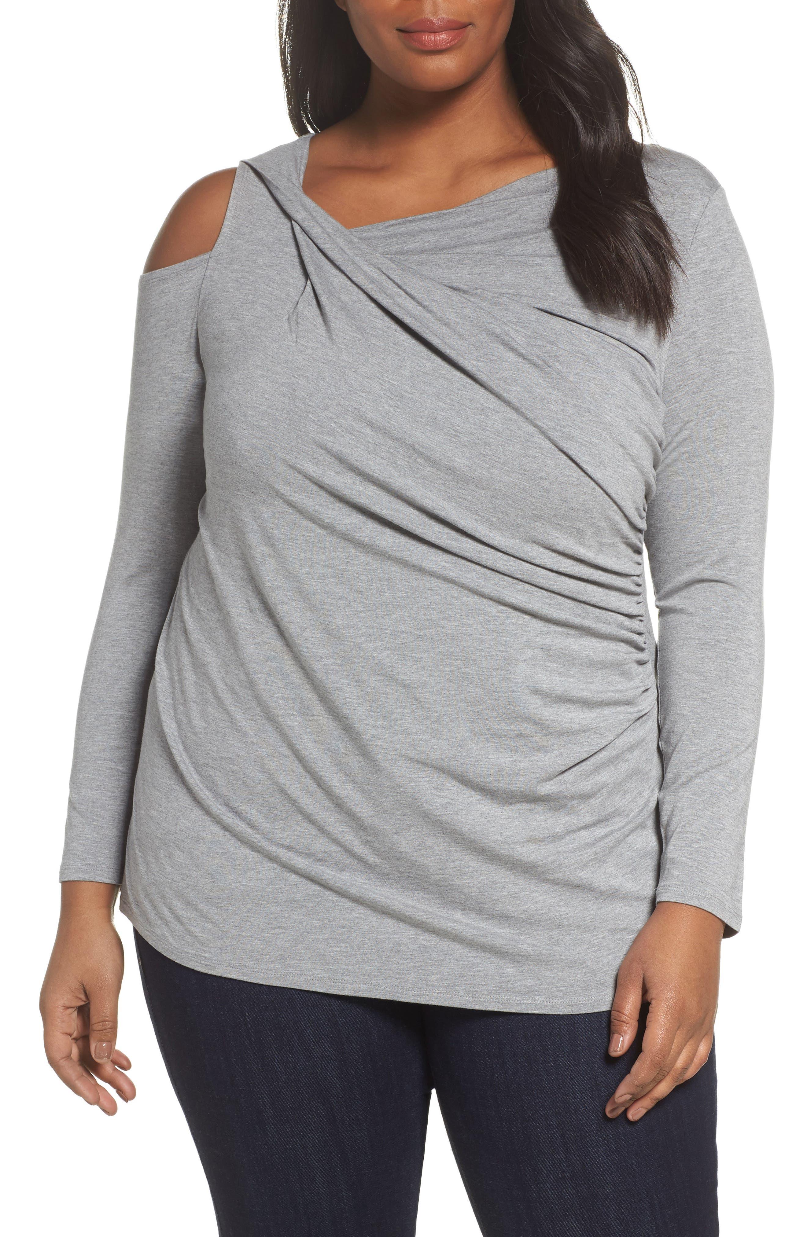 Twisted Cold Shoulder Top,                         Main,                         color, Light Heather Grey
