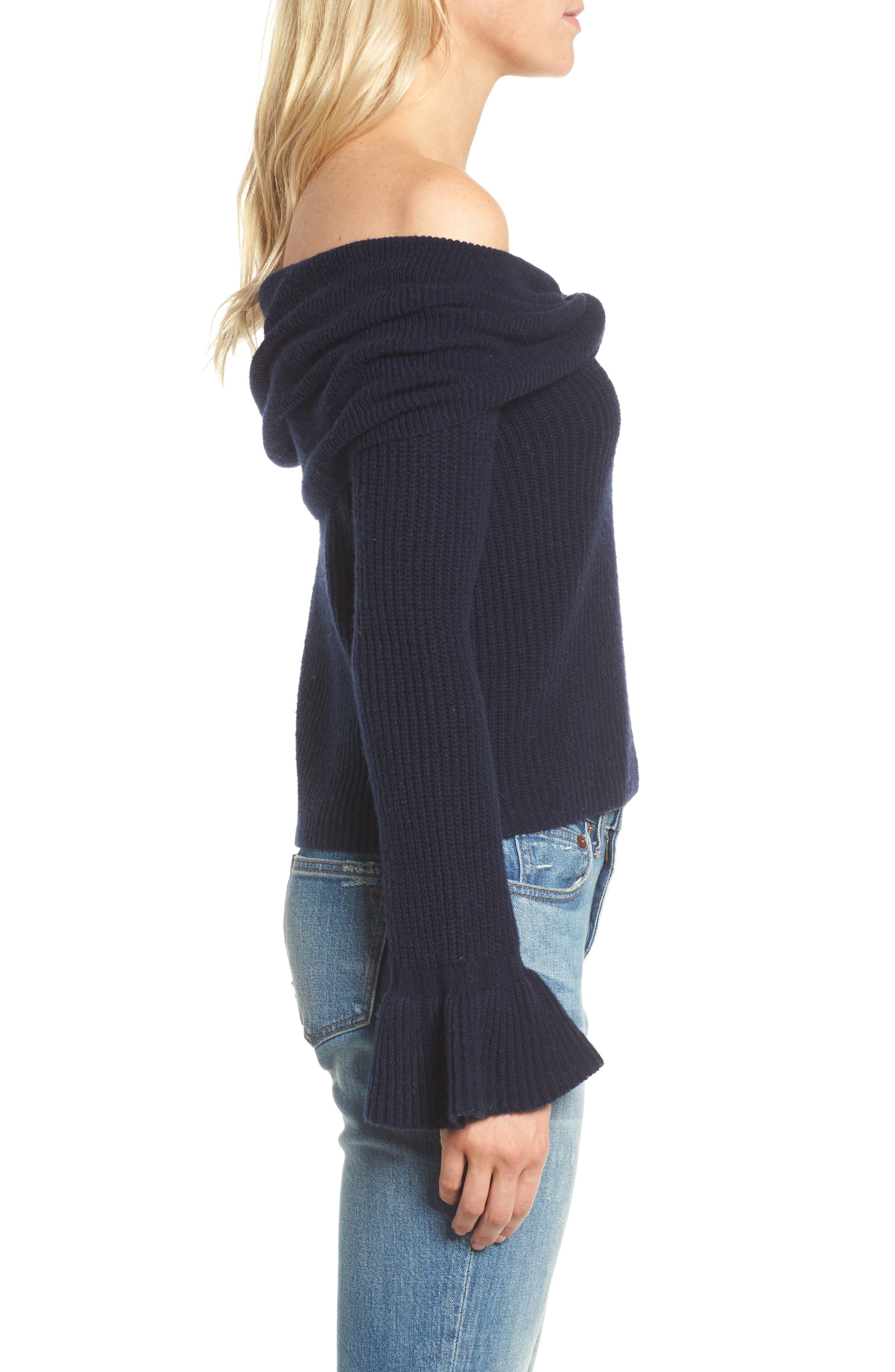 Off the Shoulder Sweater,                             Alternate thumbnail 3, color,                             Navy