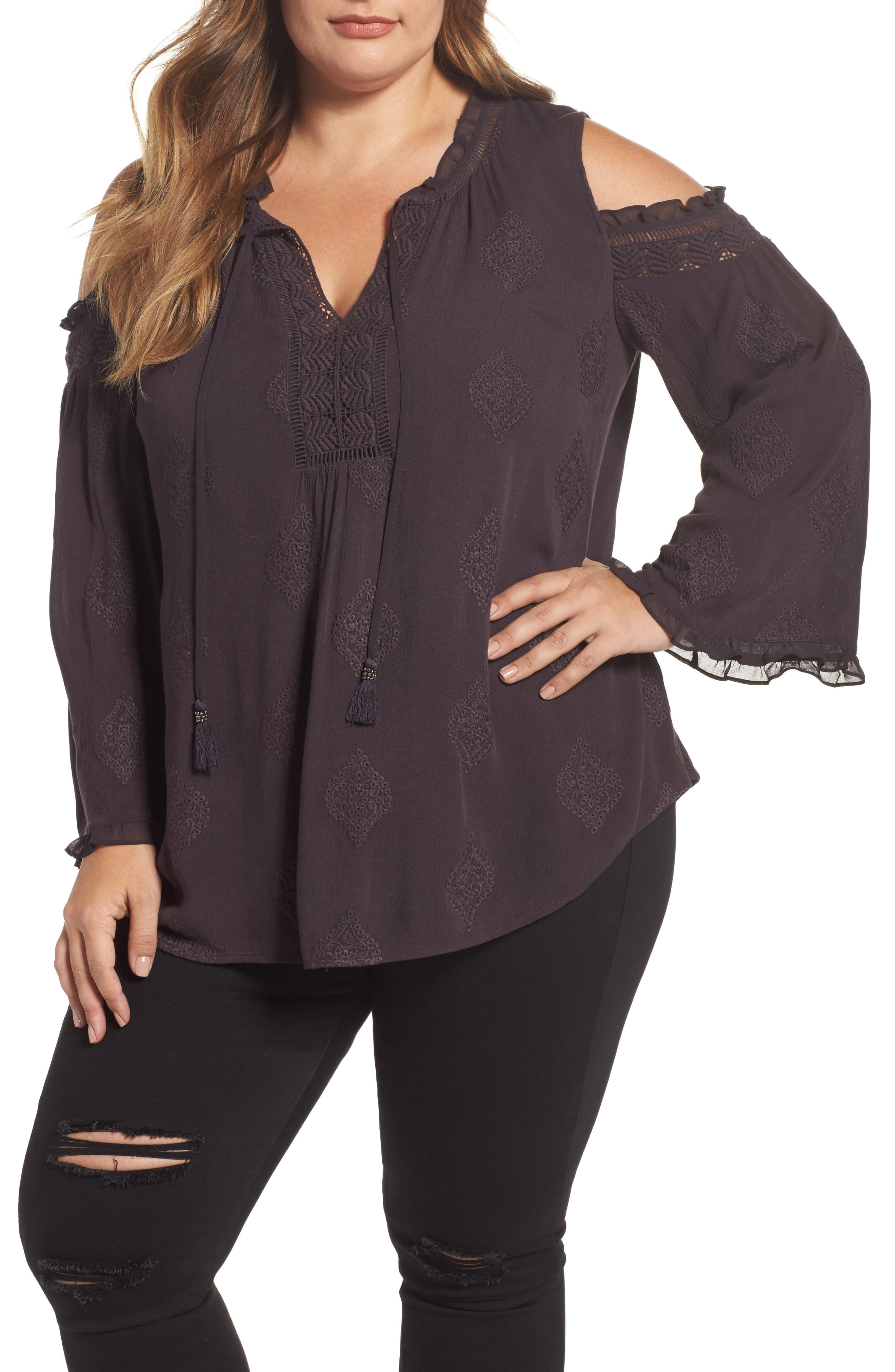 Embroidered Peasant Blouse,                         Main,                         color, C453n Charcoal
