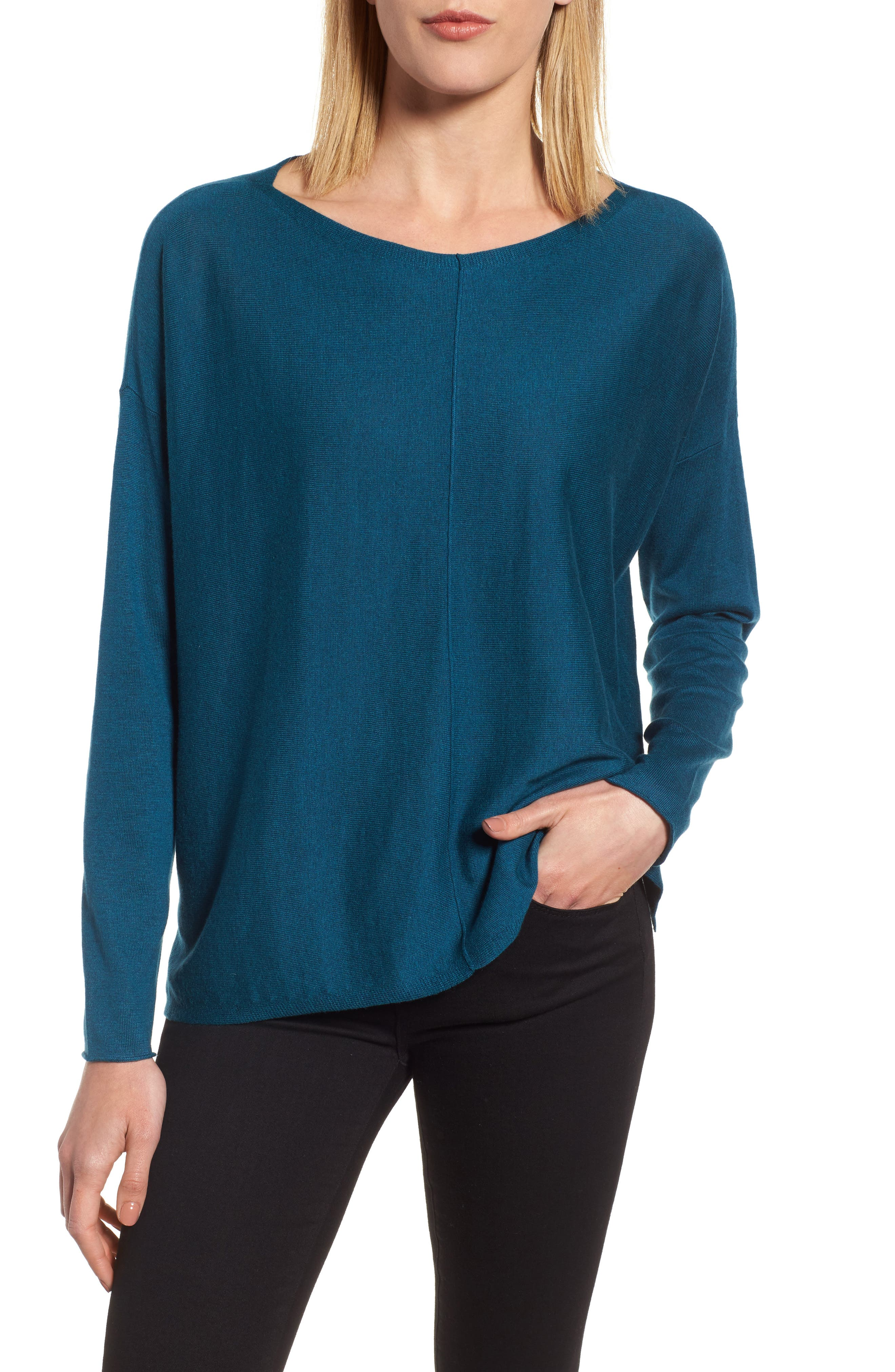 Tencel<sup>®</sup> Lyocell Blend High/Low Sweater,                             Main thumbnail 1, color,                             Blue Spruce