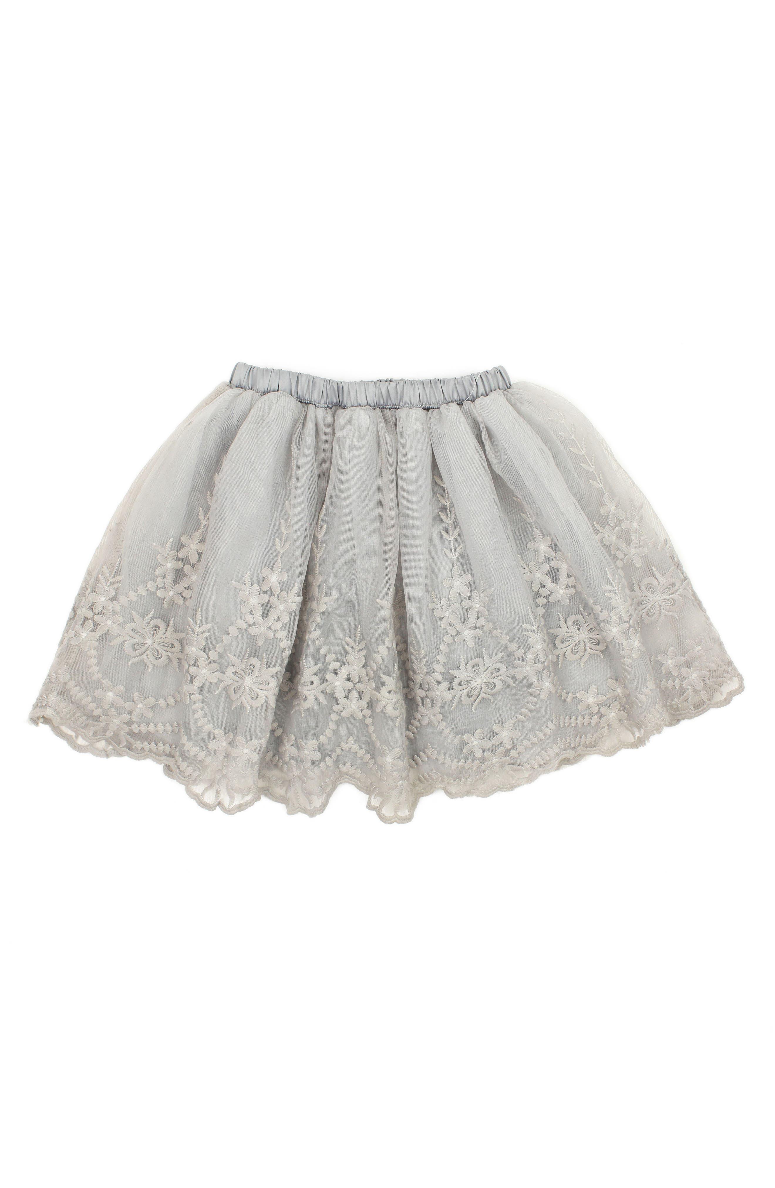 Main Image - Popatu Embroidered Tulle Skirt (Toddler Girls & Little Girls)