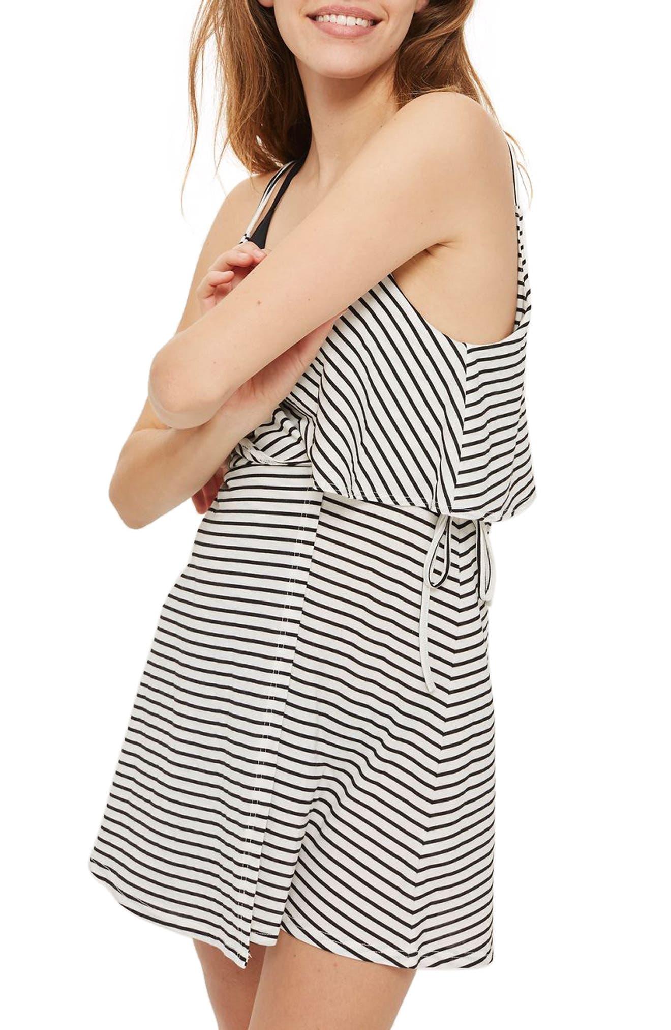 Stripe Wrap Sundress,                             Alternate thumbnail 3, color,                             White Multi