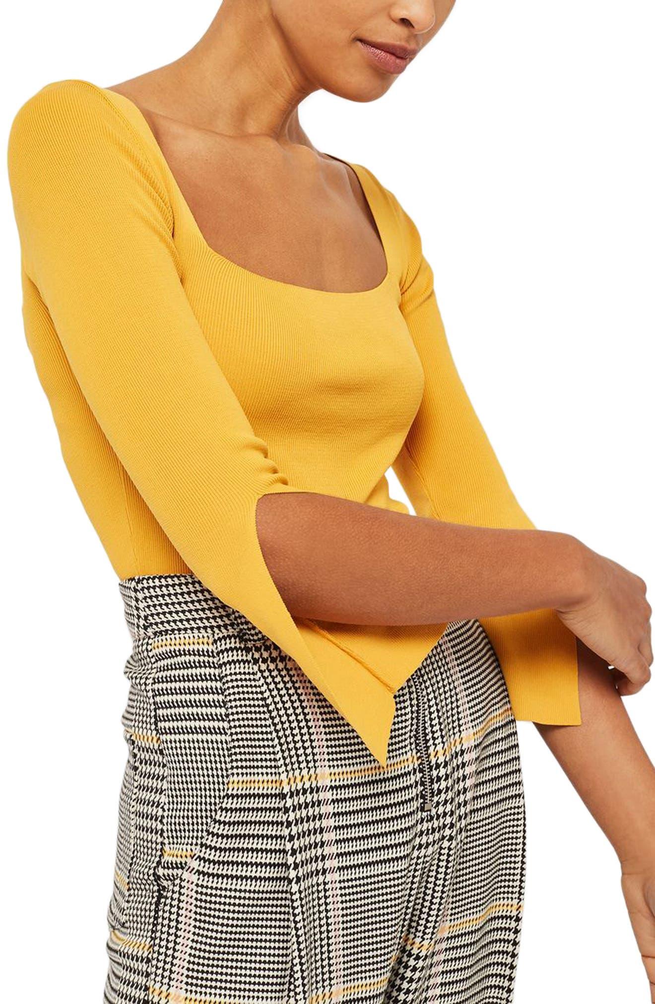 Split Sleeve Crop Sweater,                         Main,                         color, Yellow