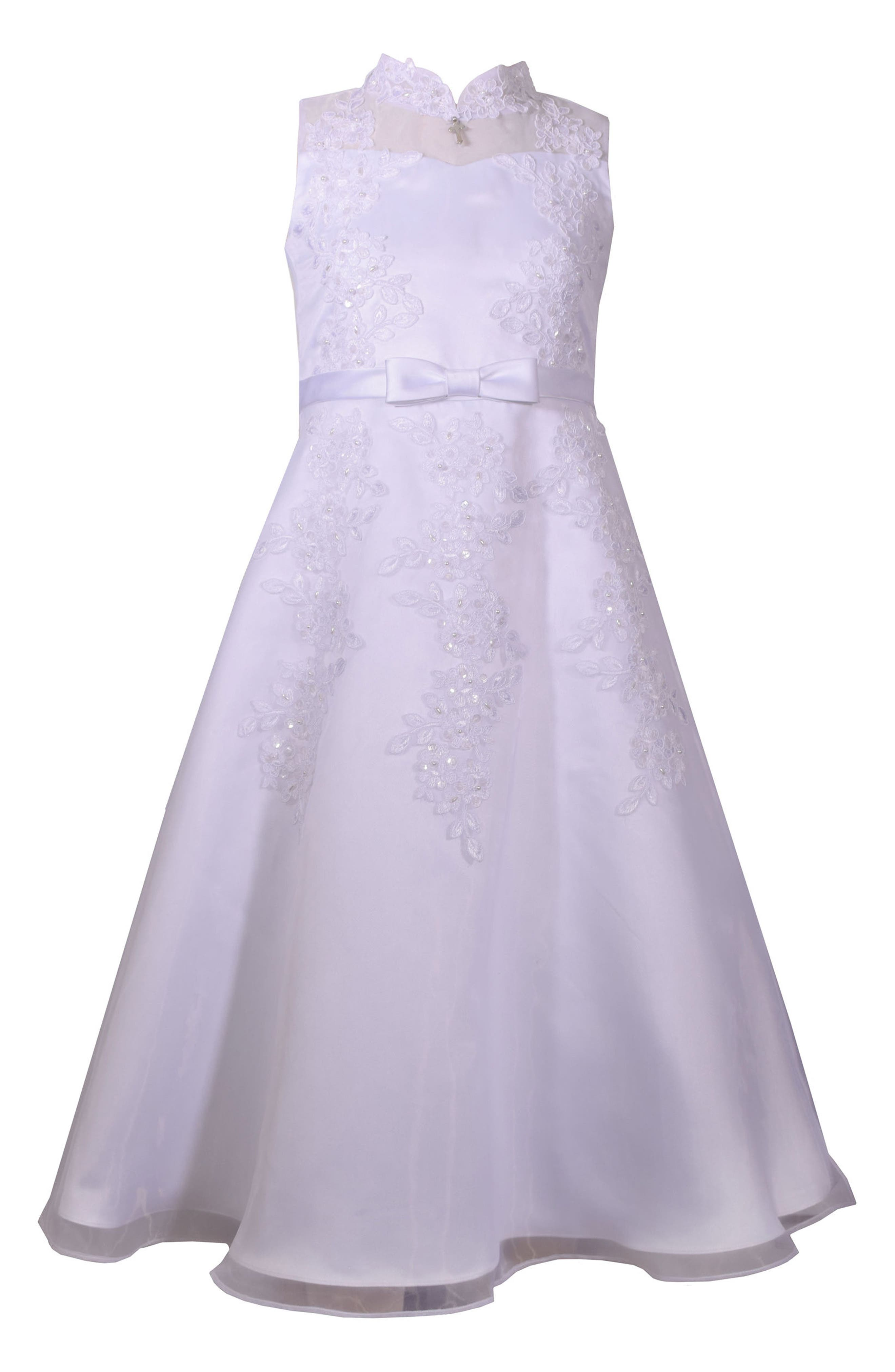 Sequin First Communion Dress,                             Main thumbnail 1, color,                             White