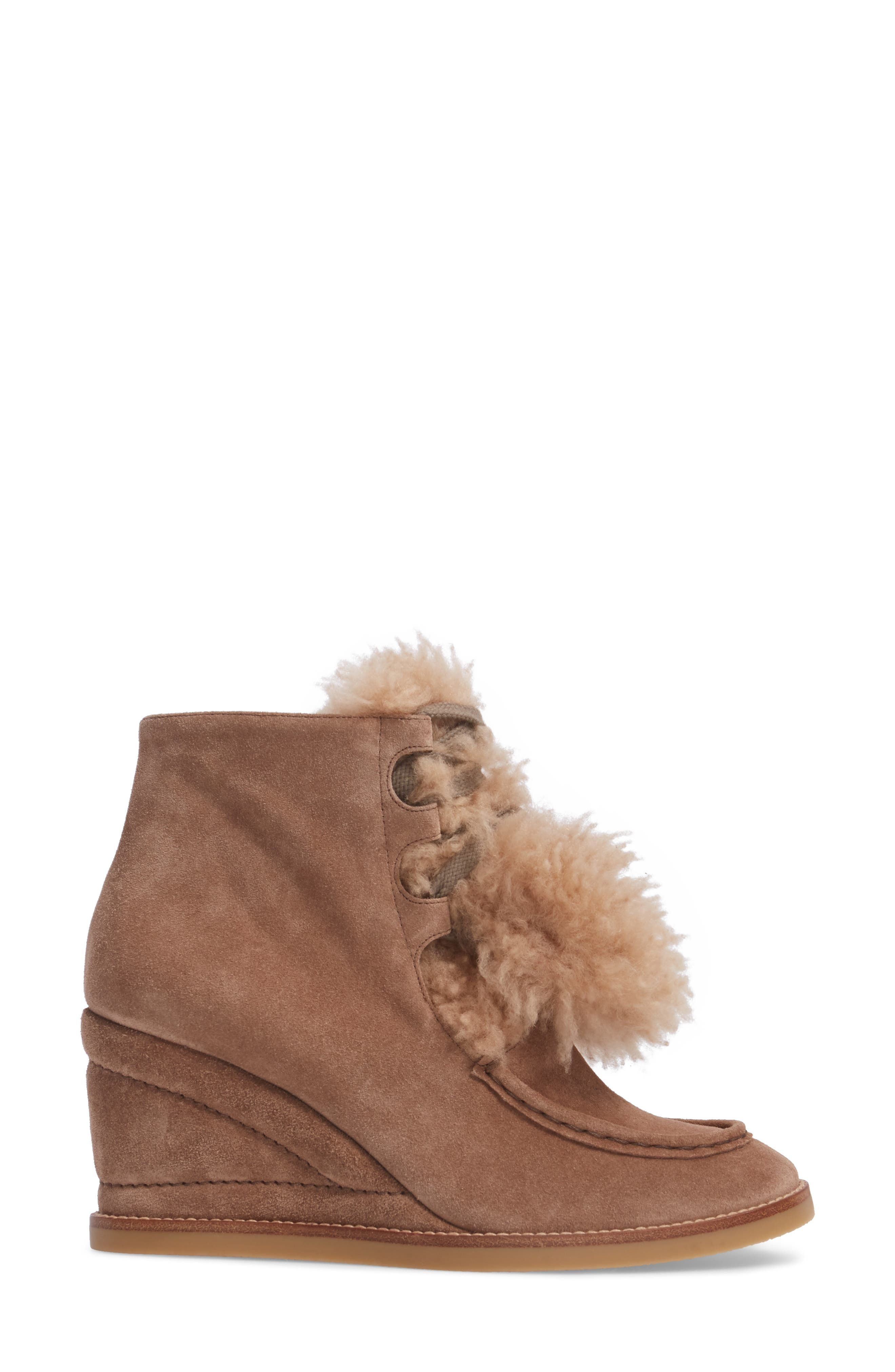 Peggy Genuine Shearling Wedge Bootie,                             Alternate thumbnail 3, color,                             Latte Brown Suede