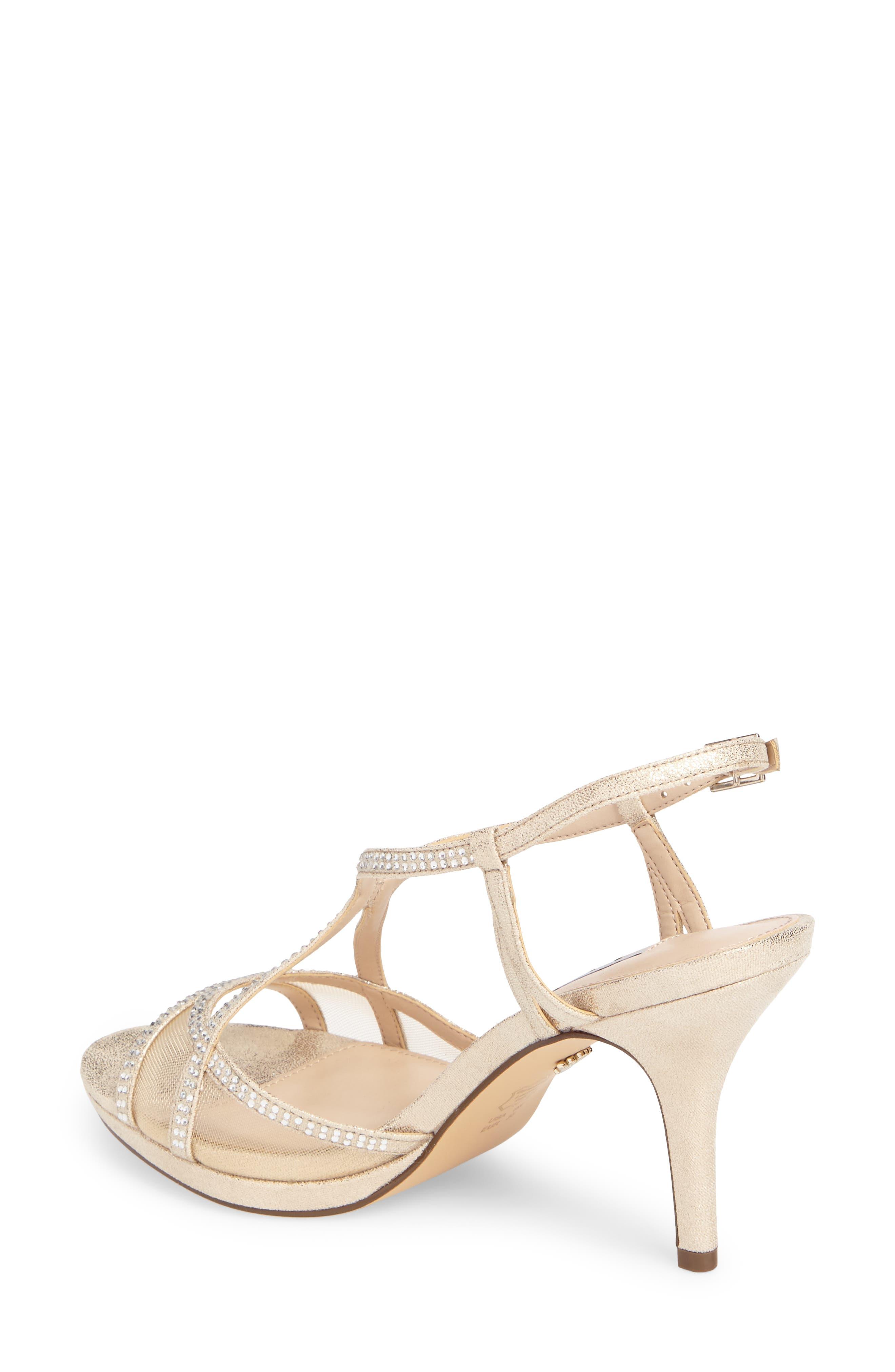 Blossom Crystal Embellished Sandal,                             Alternate thumbnail 2, color,                             Gold Fabric