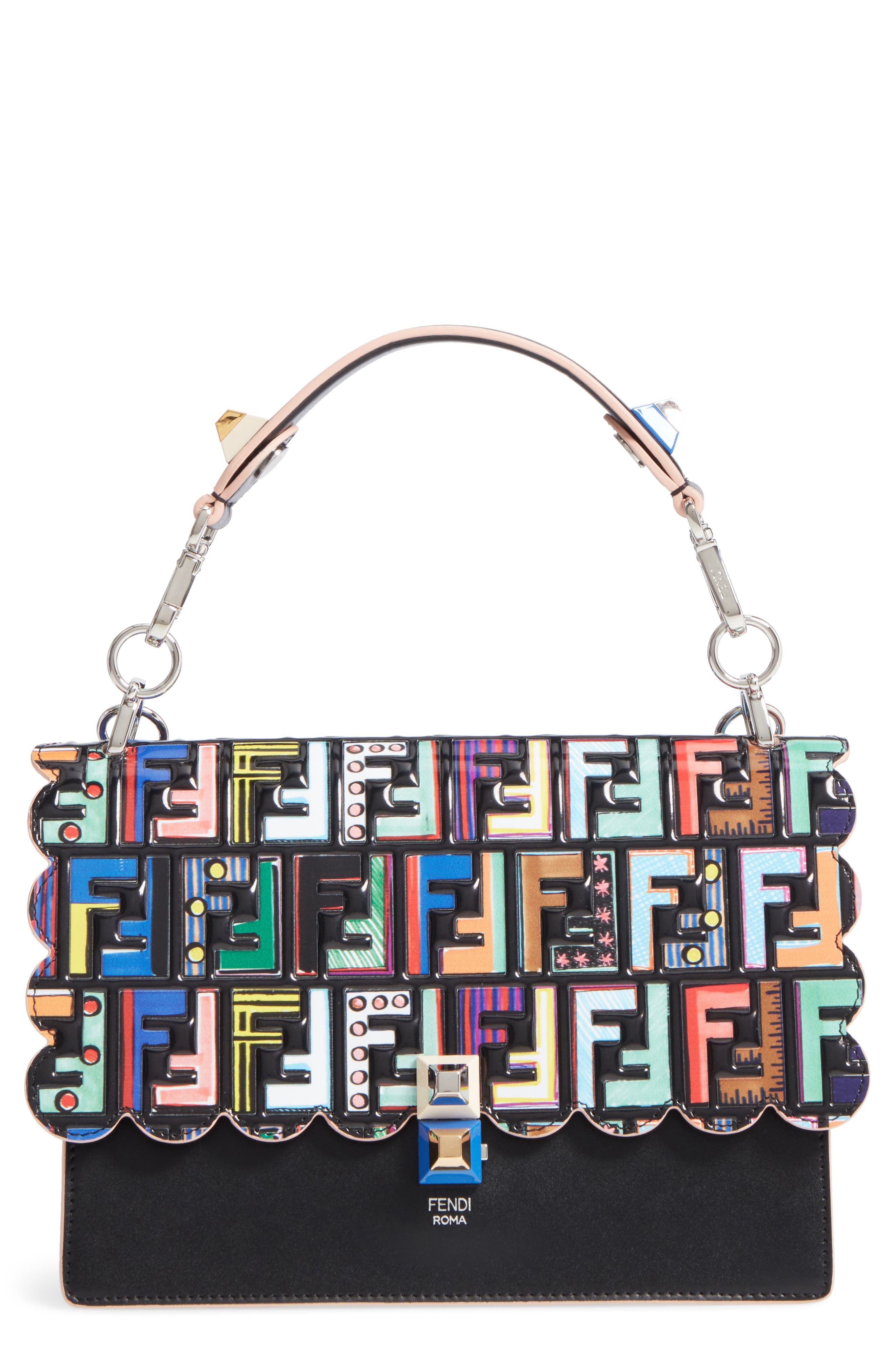 Fendi Kan I Stamped Zucca Logo Leather Top Handle Bag