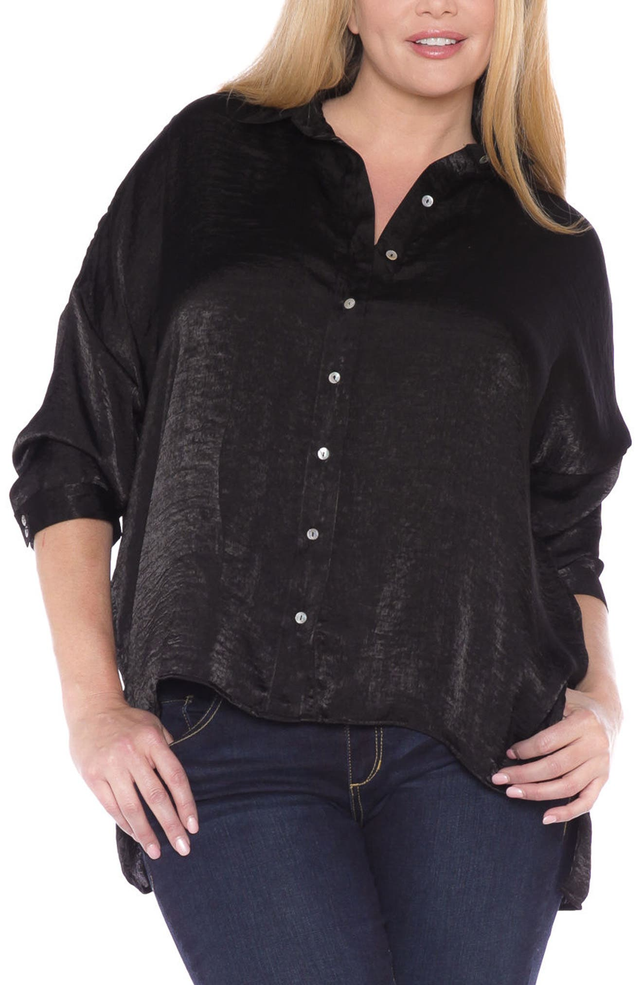 Hammered Satin Shirt,                         Main,                         color, Black