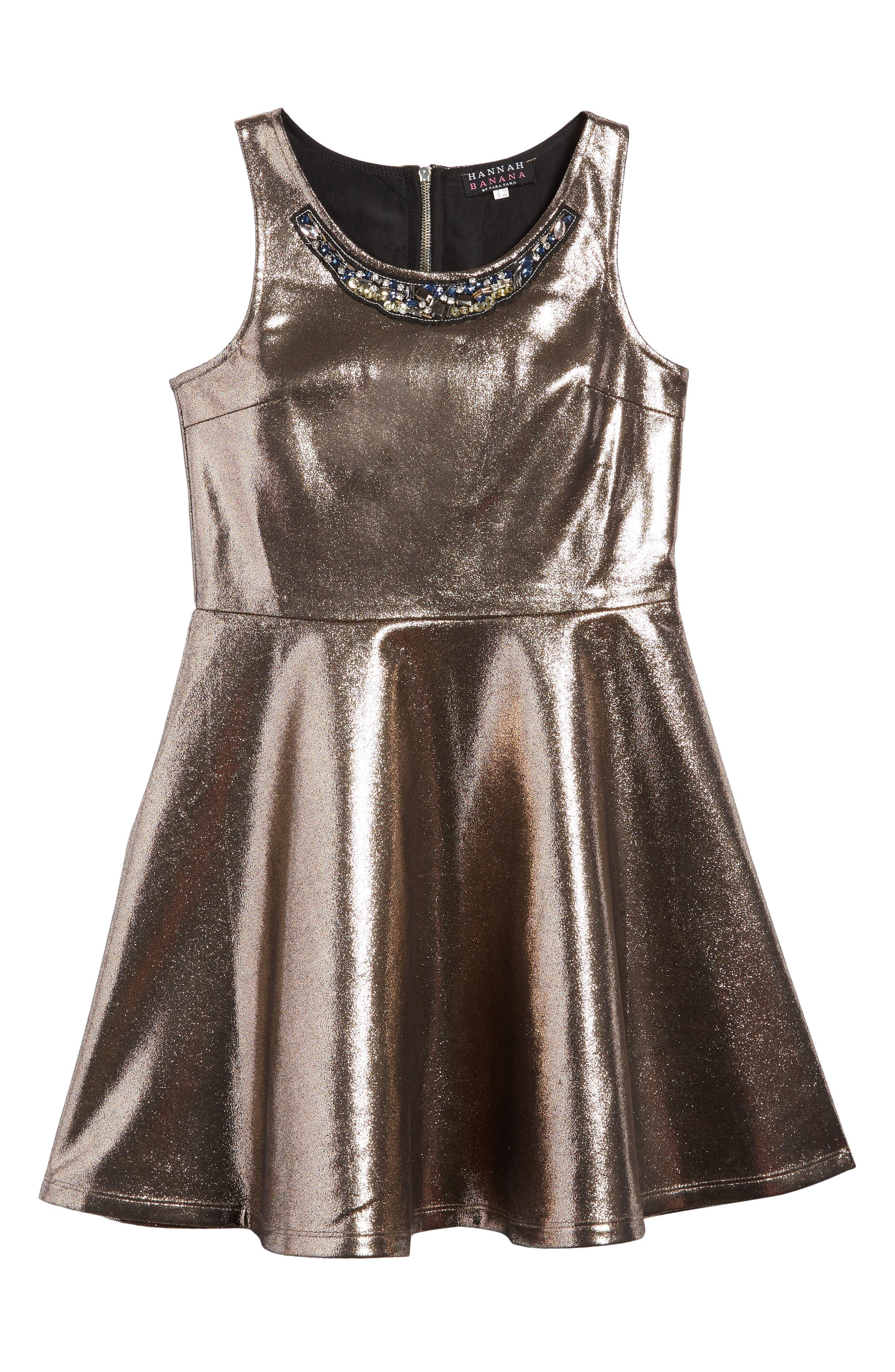 Embellished Metallic Skater Dress,                             Main thumbnail 1, color,                             Gold