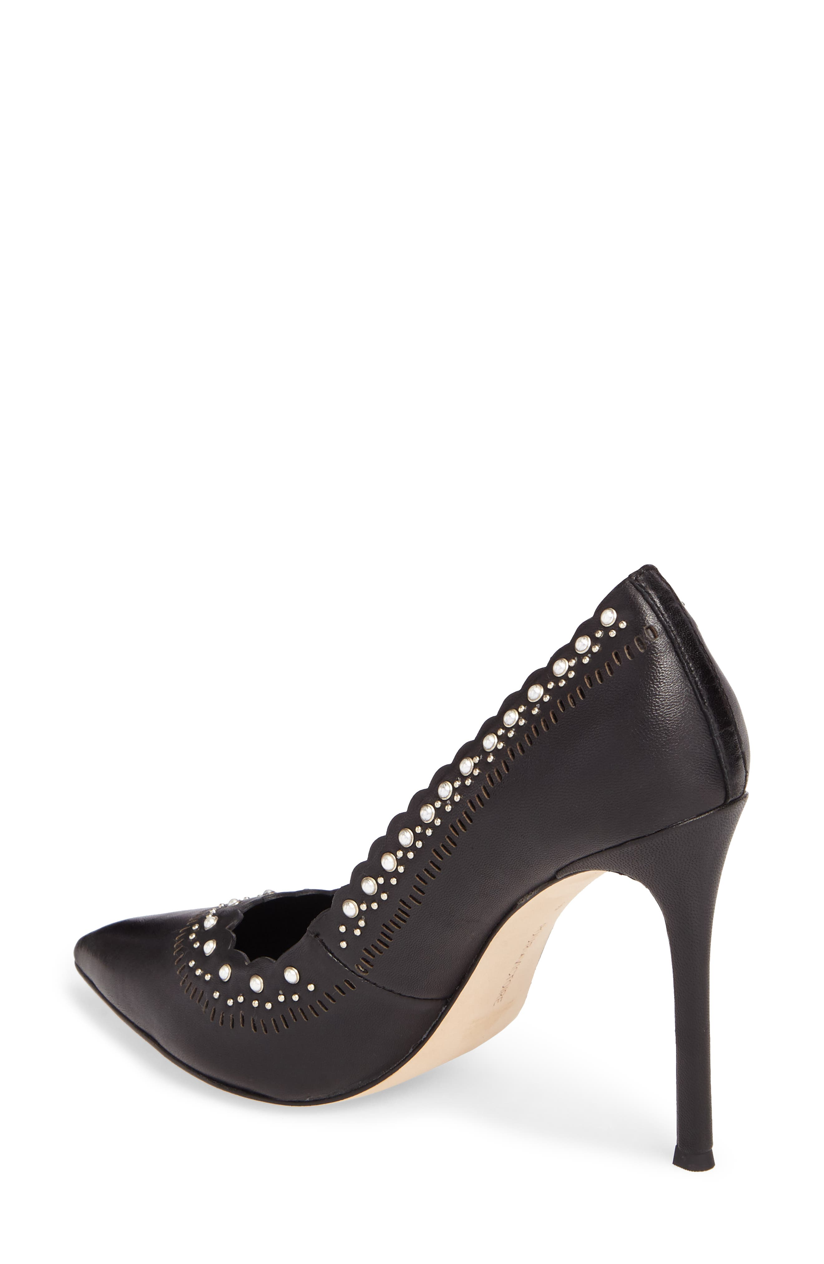 Cerella Embellished Pump,                             Alternate thumbnail 2, color,                             Black Leather