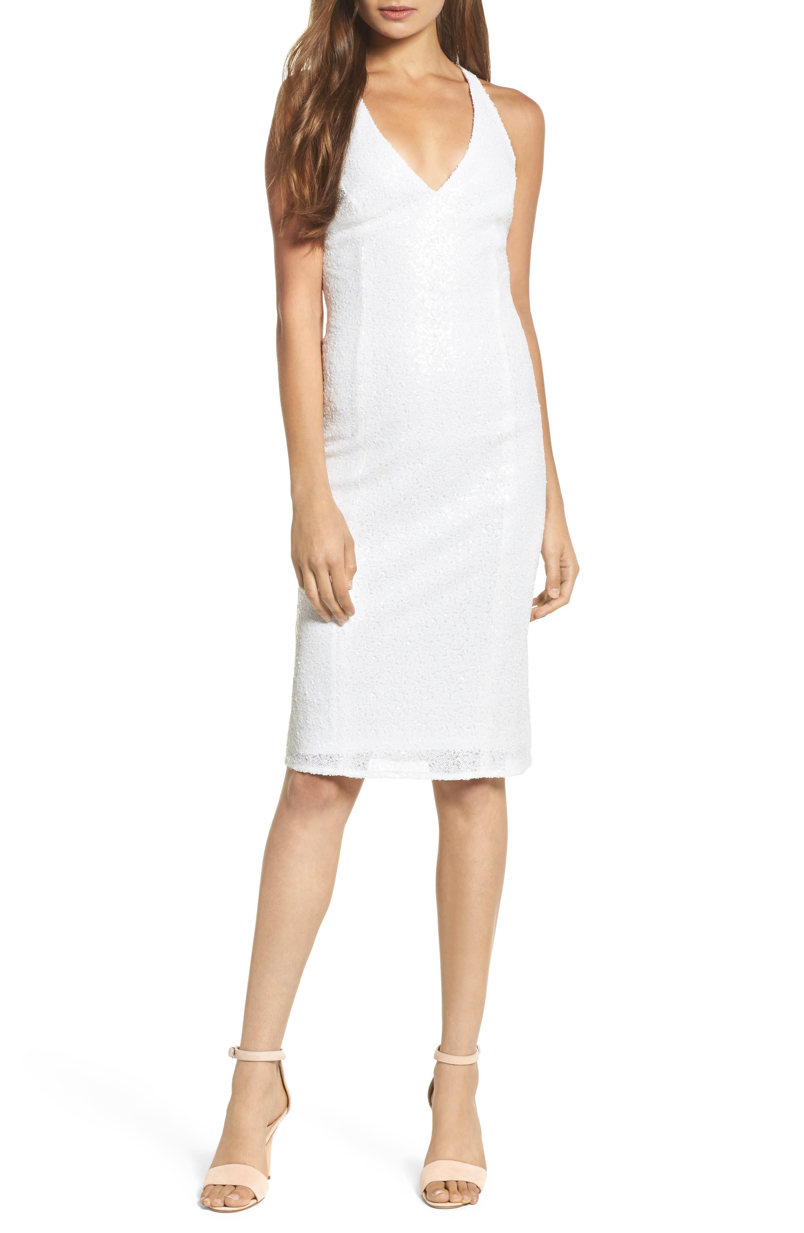 Alo Sequin Halter Dress,                         Main,                         color, Gardenia