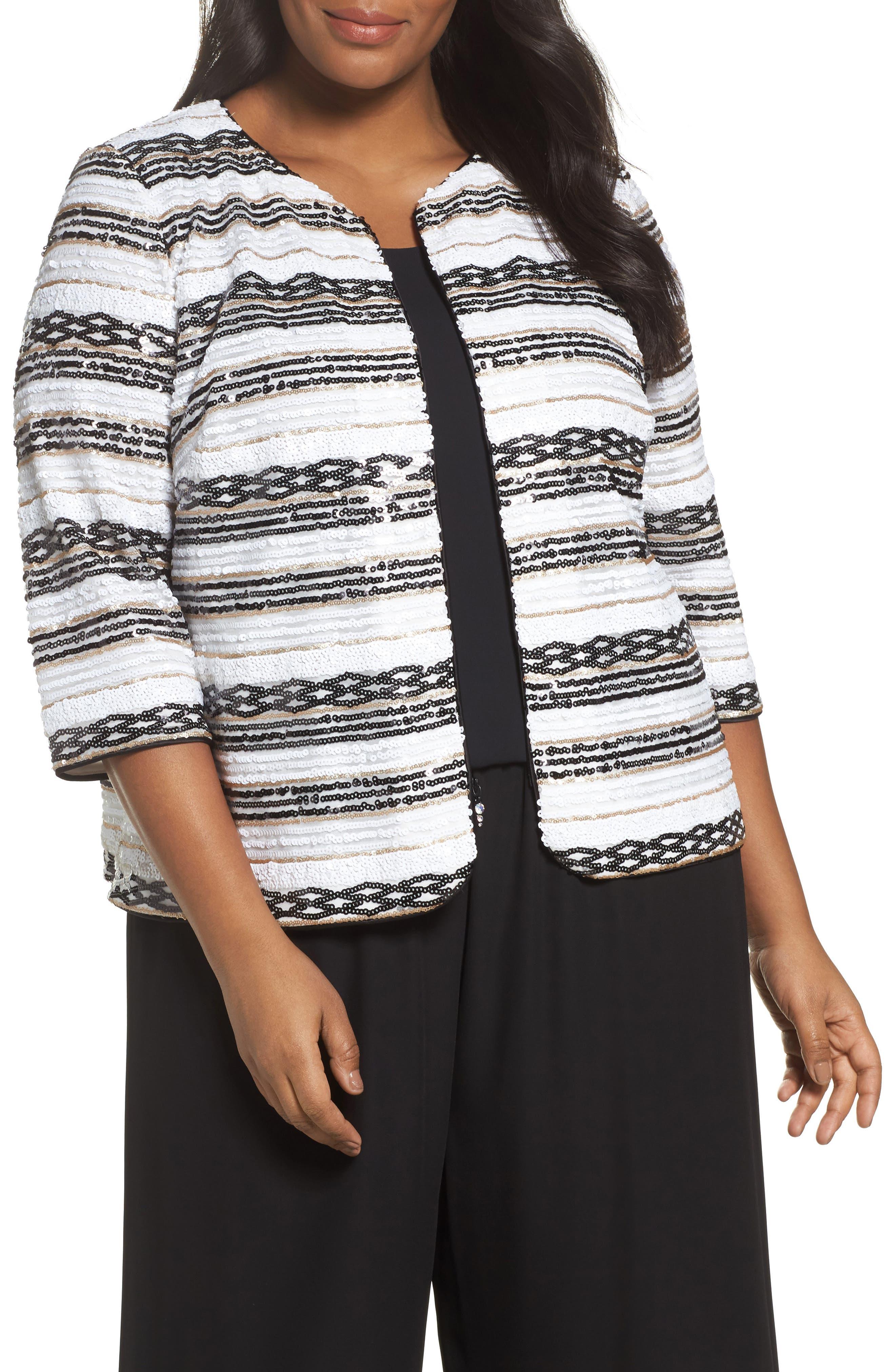 Sequin Stripe Jacket,                             Main thumbnail 1, color,                             White/ Black