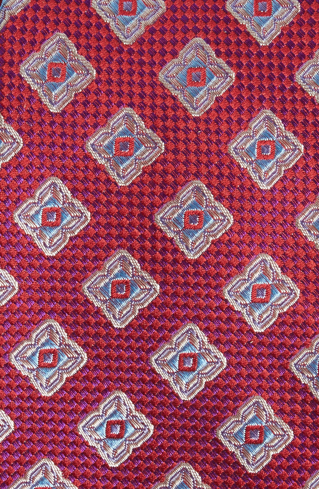 Ethan Medallion Silk Tie,                             Alternate thumbnail 2, color,                             Fuchsia