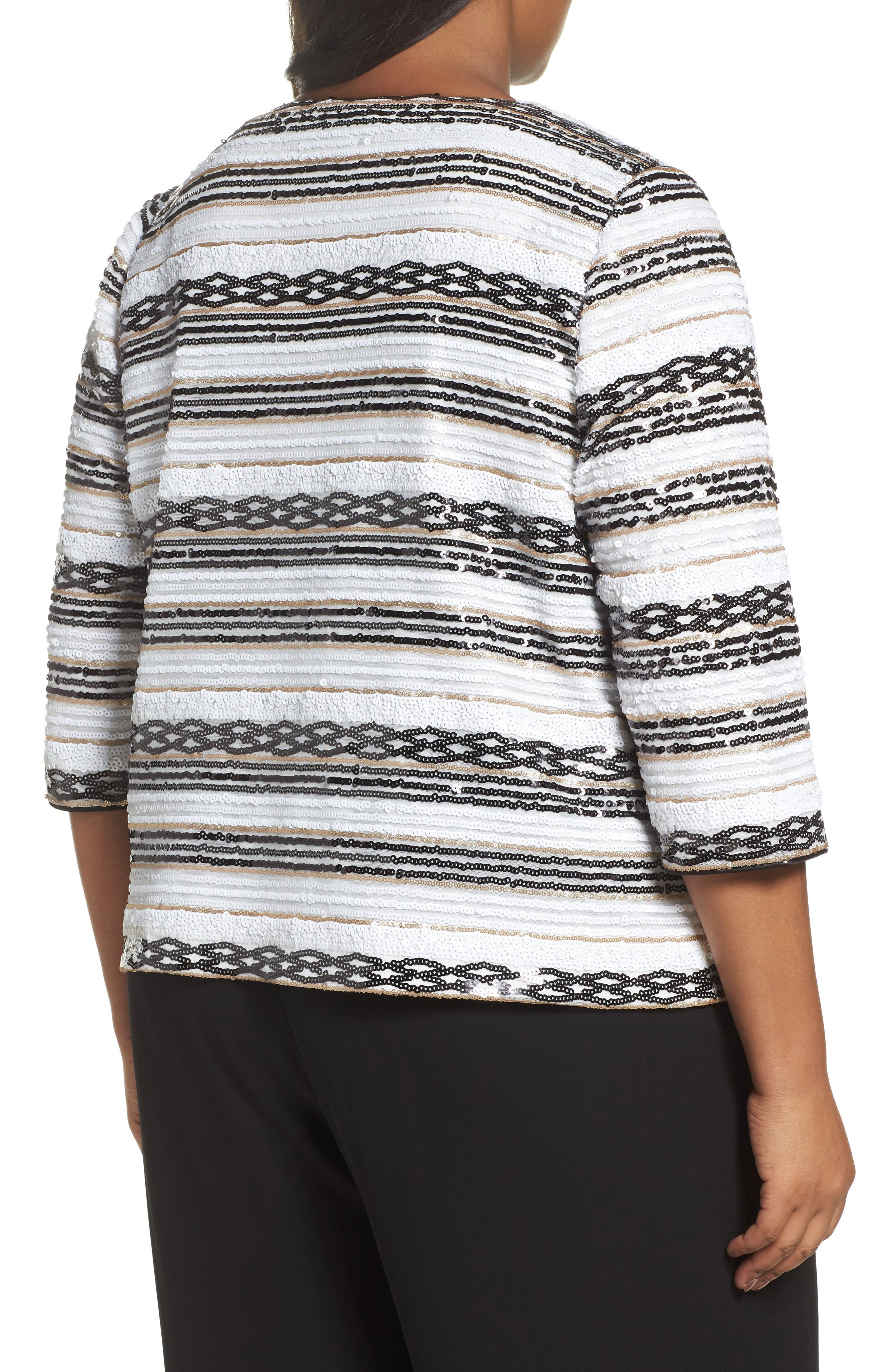 Sequin Stripe Jacket,                             Alternate thumbnail 2, color,                             White/ Black