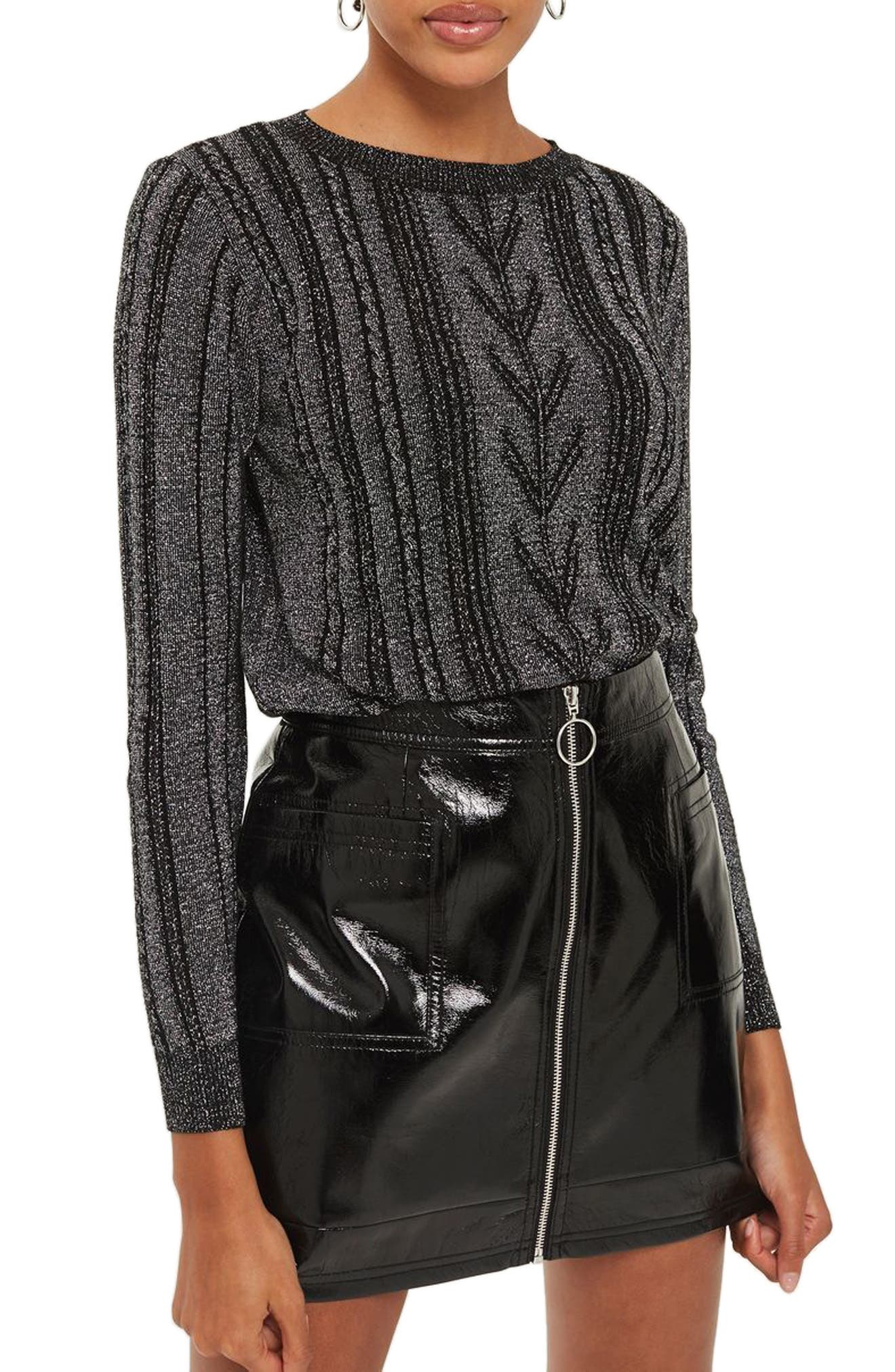 Metallic Cable Knit Sweater,                         Main,                         color, Silver