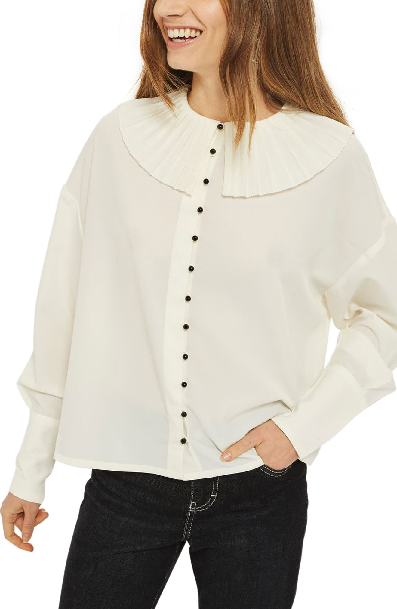 Pleated Collar Shirt,                         Main,                         color, Ivory