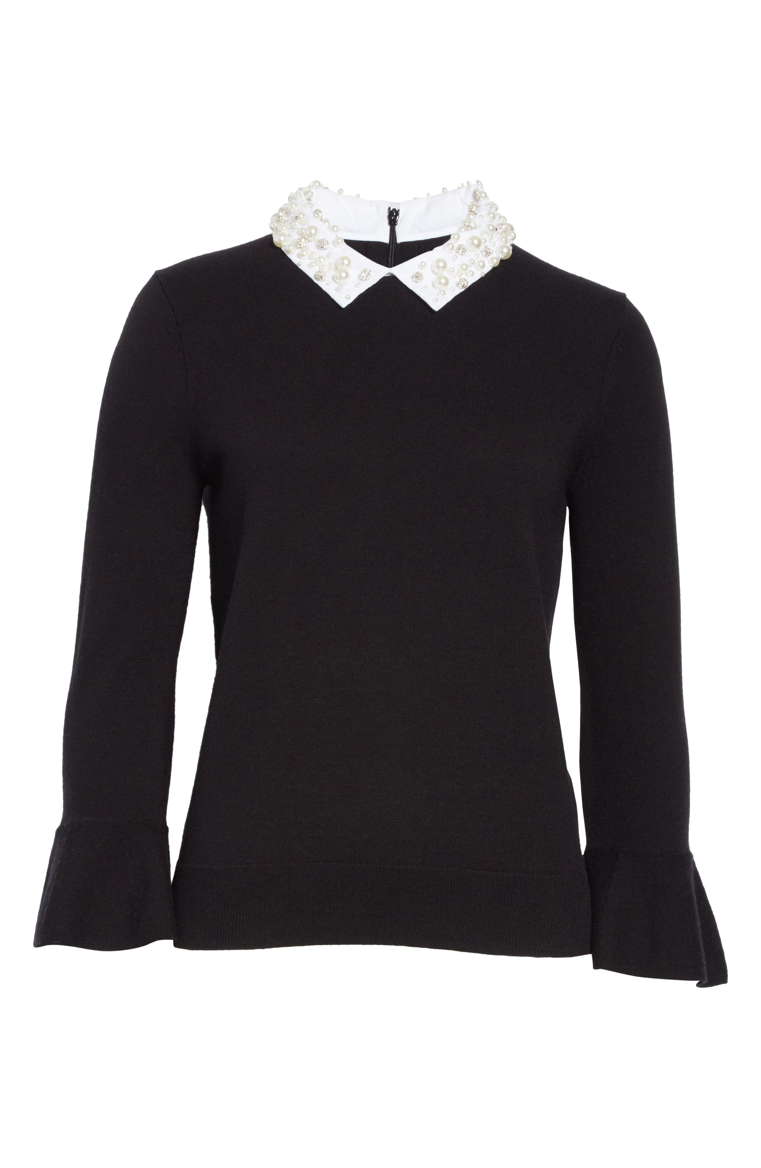 embellished collar sweater,                             Alternate thumbnail 6, color,                             Black