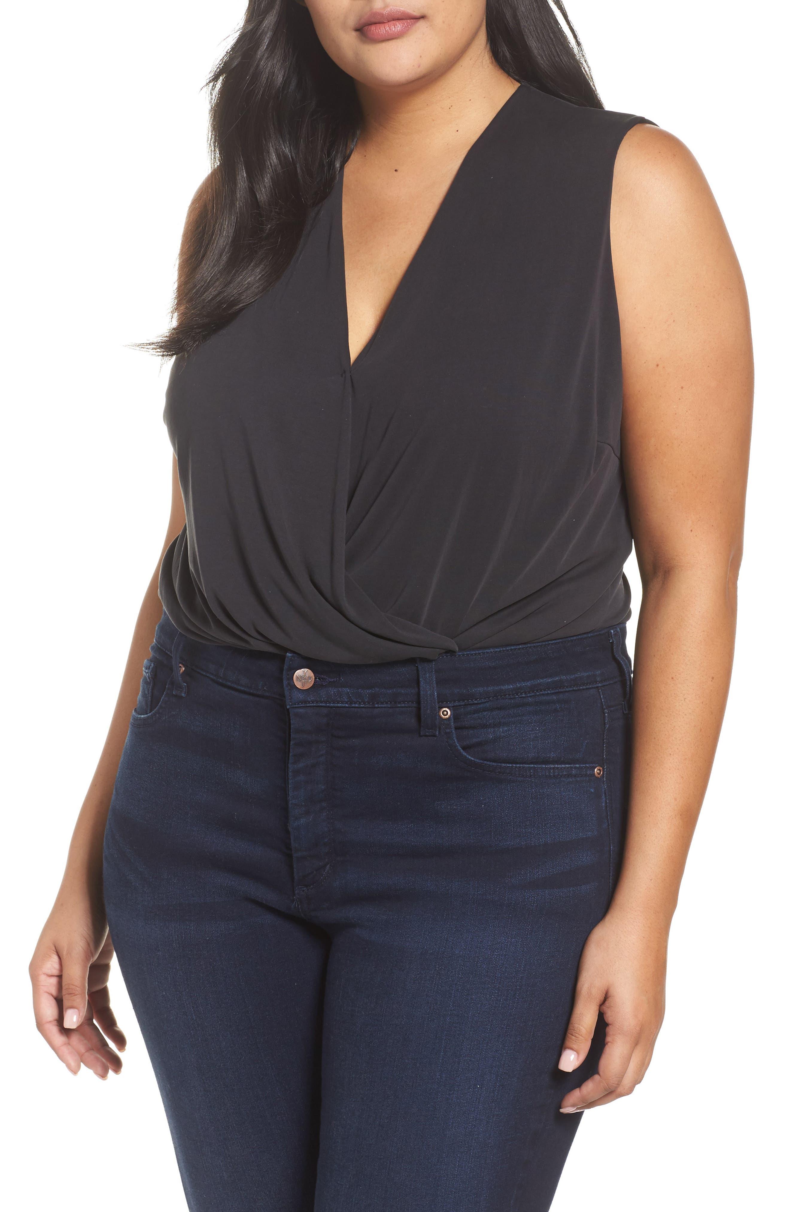 Faux Wrap Bodysuit,                         Main,                         color, Black