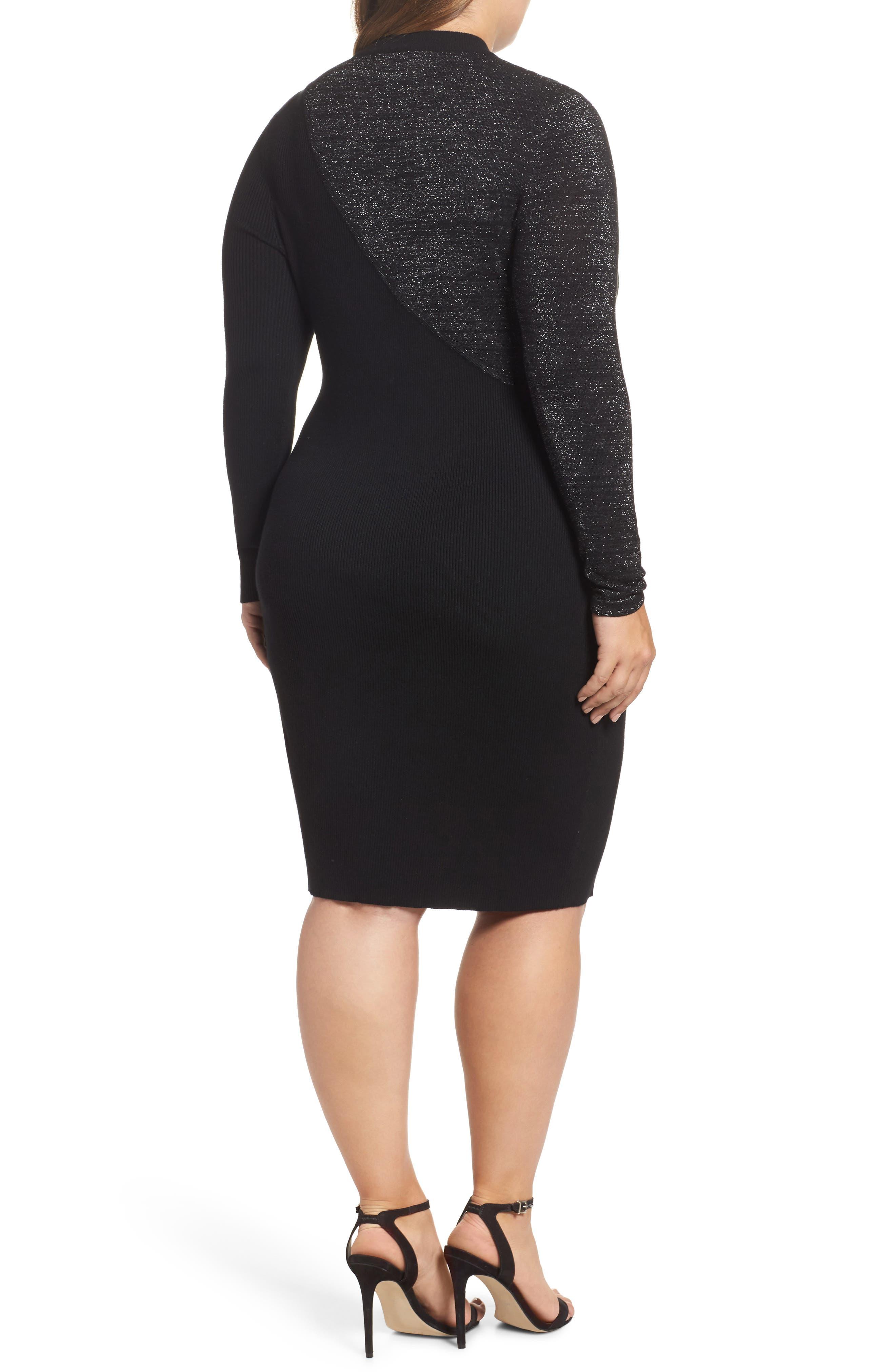 Glitter Colorblock Knit Body-Con Dress,                             Alternate thumbnail 2, color,                             Black