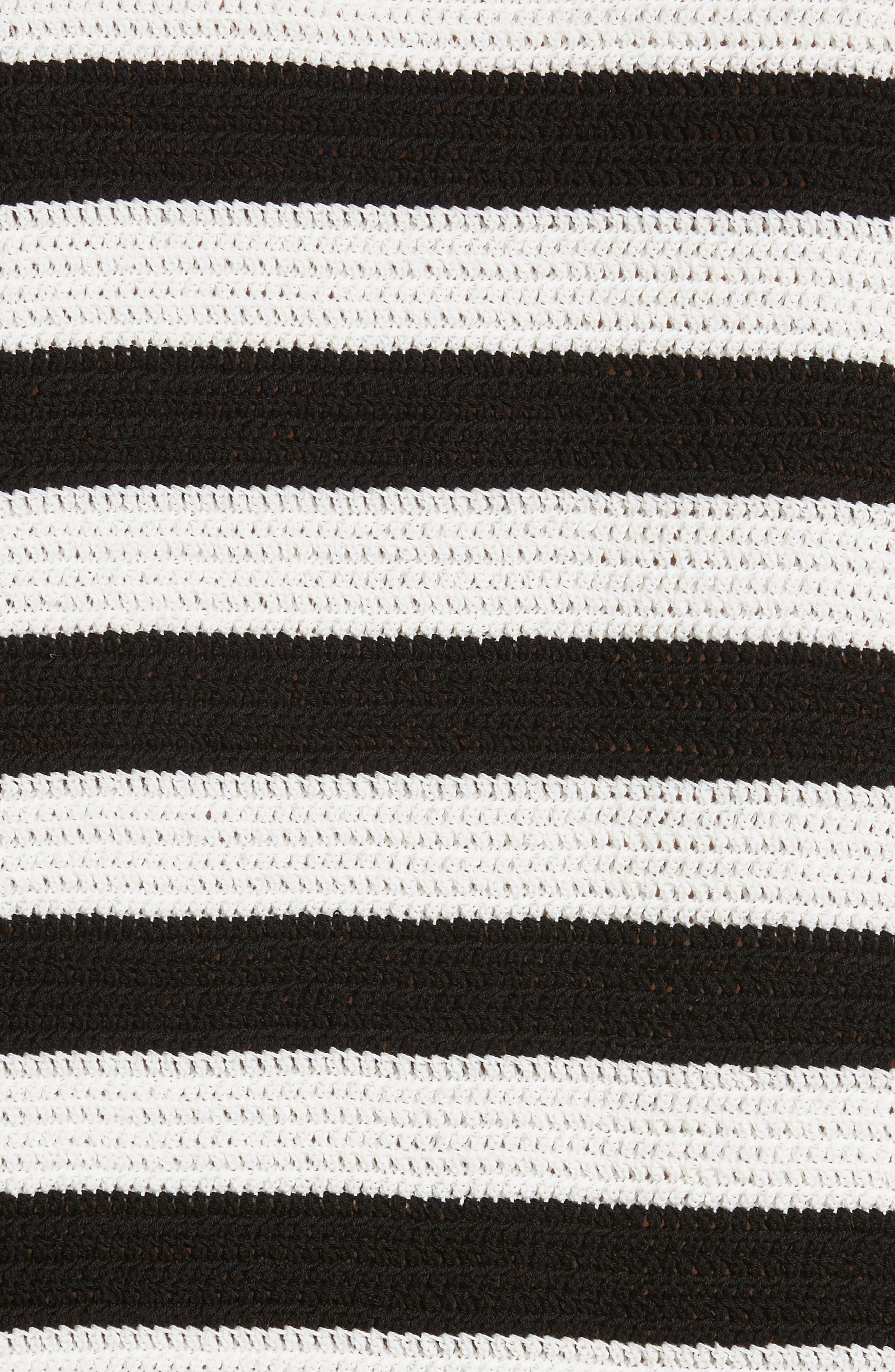 Stripe Cotton Pique Sweater,                             Alternate thumbnail 5, color,                             Black