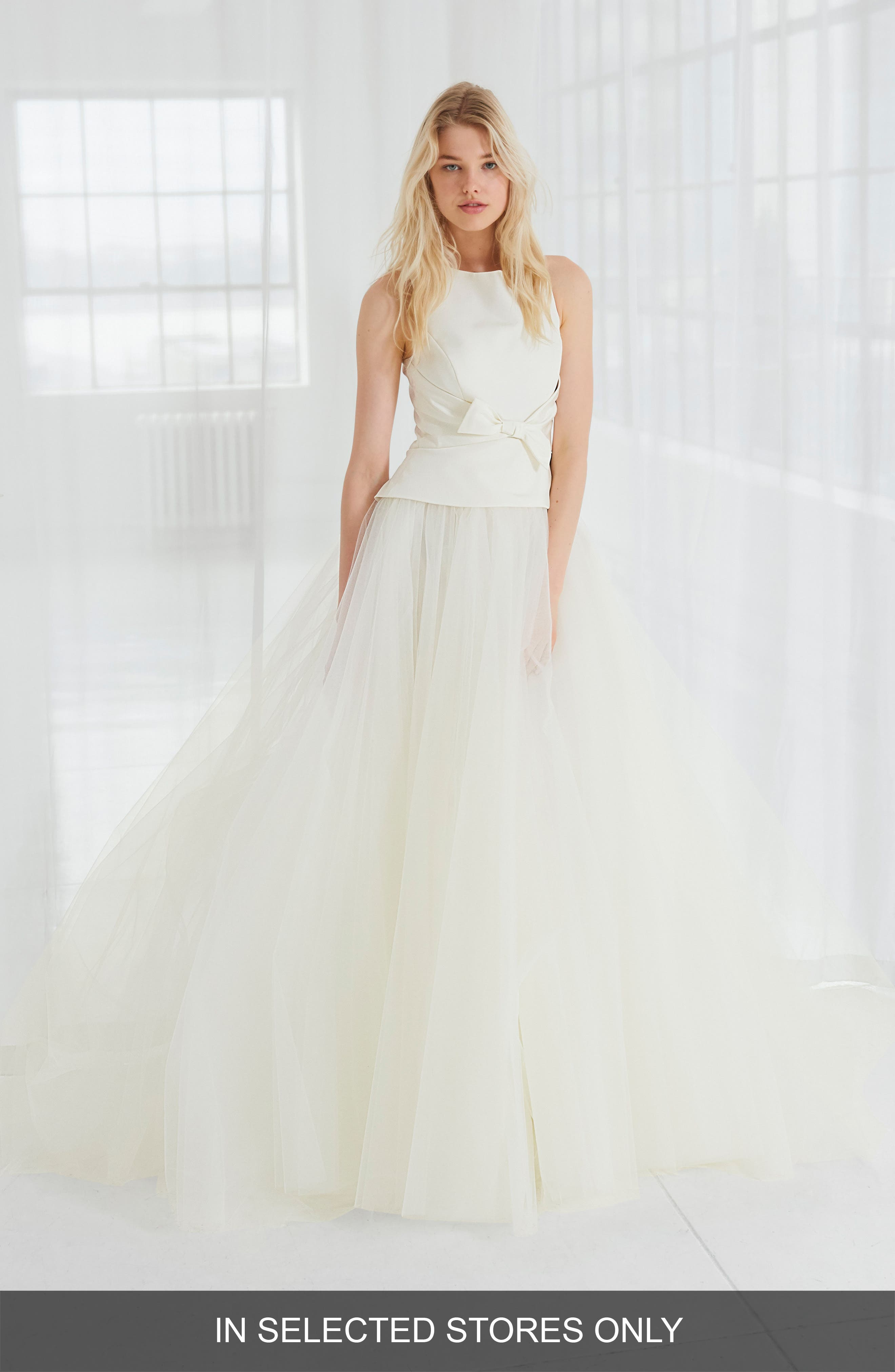 Miller Faille & Tulle Ball Gown,                             Main thumbnail 1, color,                             Silk White