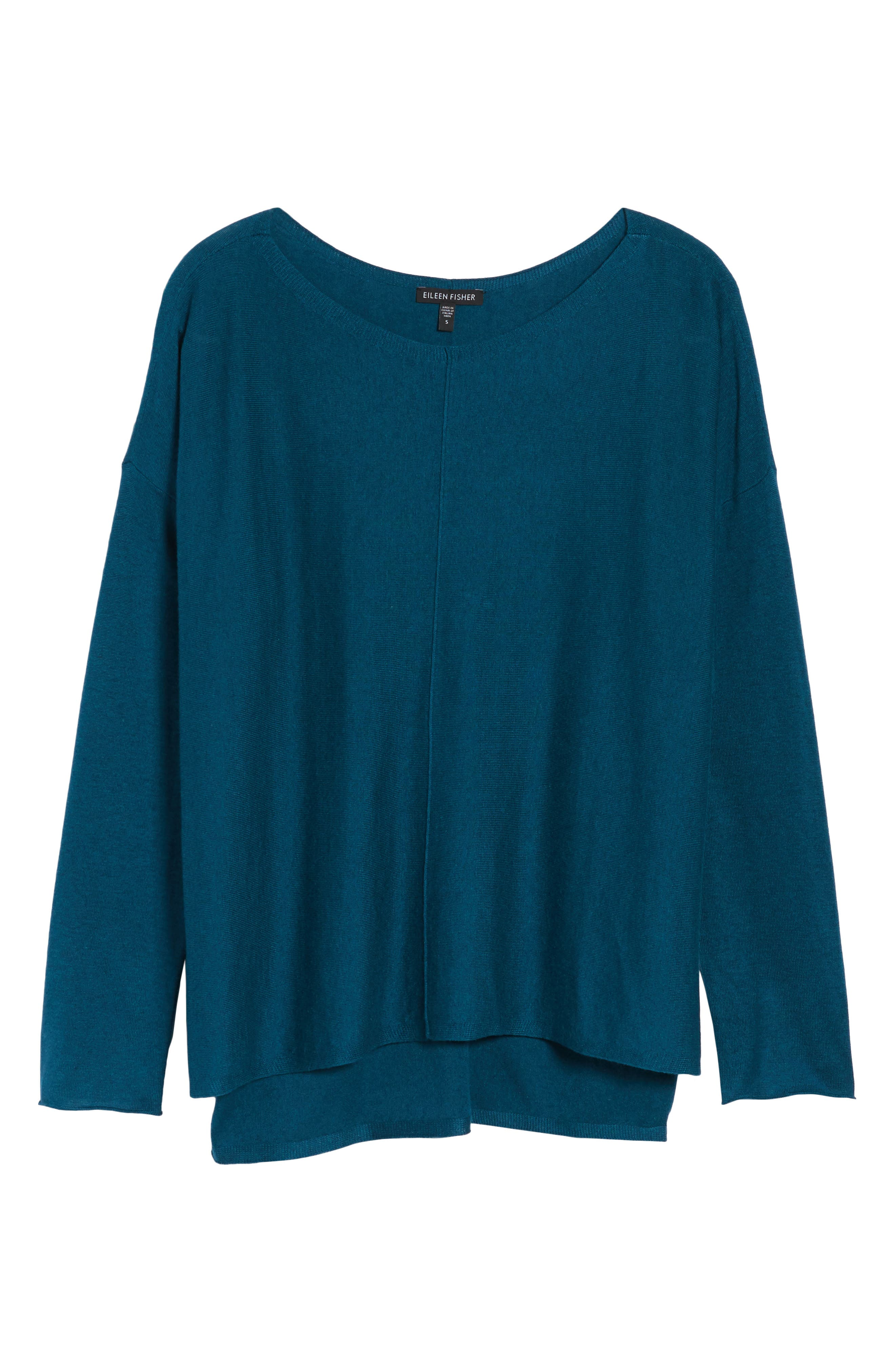 Tencel<sup>®</sup> Lyocell Blend High/Low Sweater,                             Alternate thumbnail 6, color,                             Blue Spruce