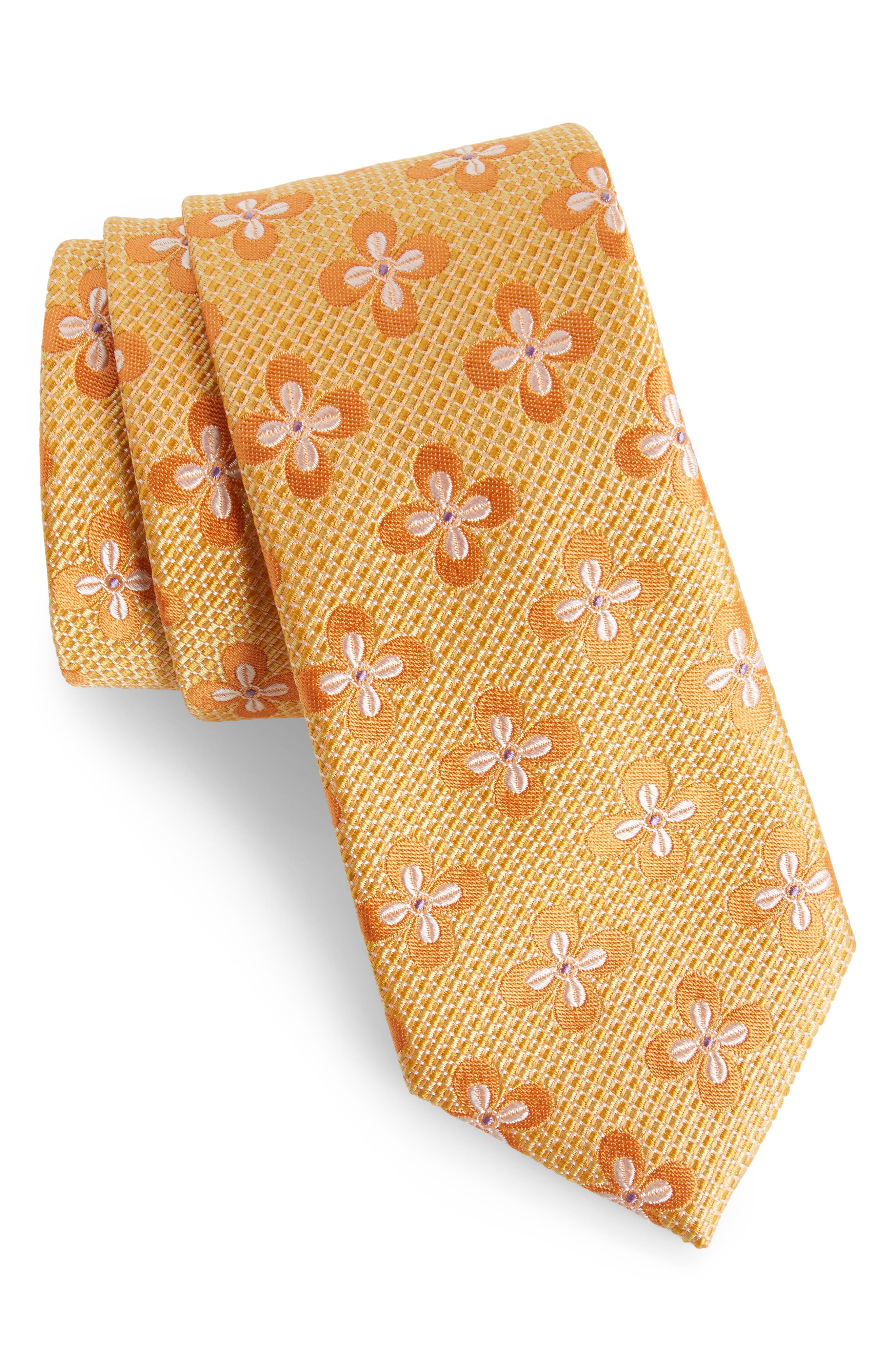Floral Silk Tie,                         Main,                         color, Orange