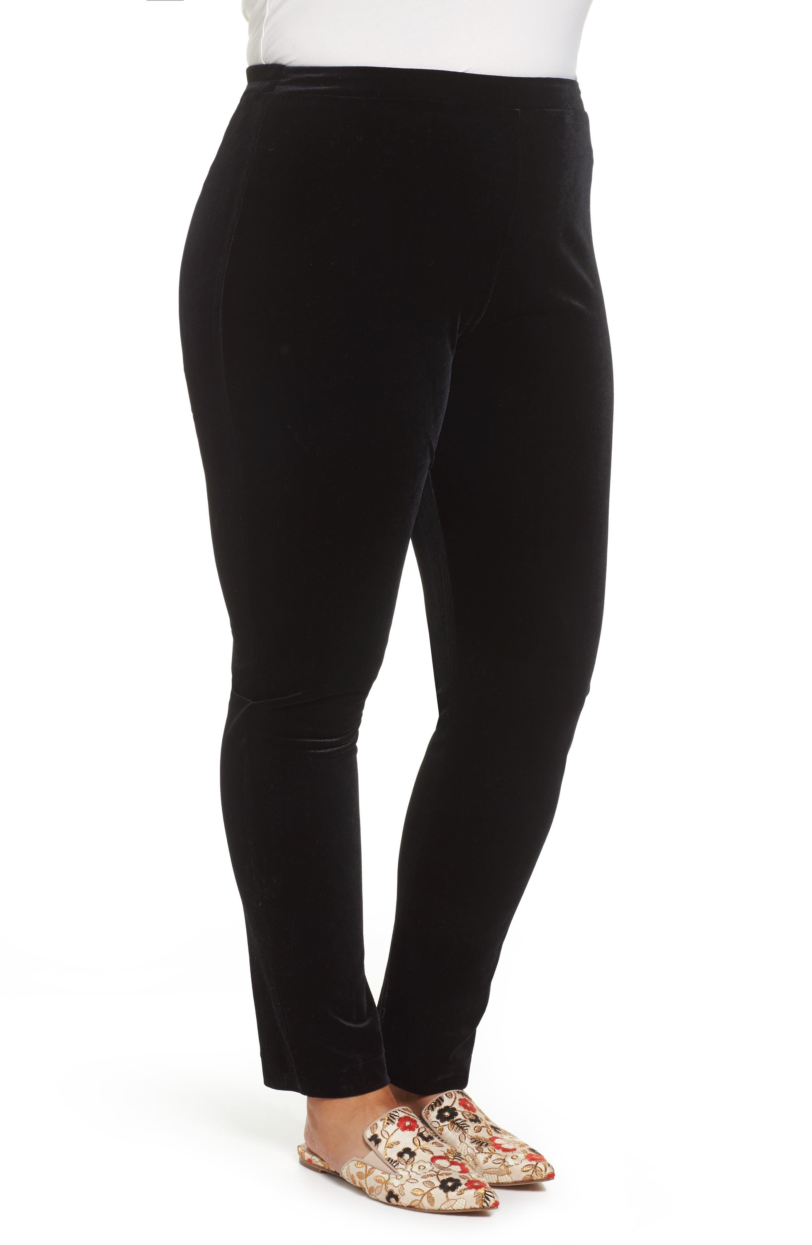Alternate Image 3  - ELVI Black Velvet Trousers (Plus Size)