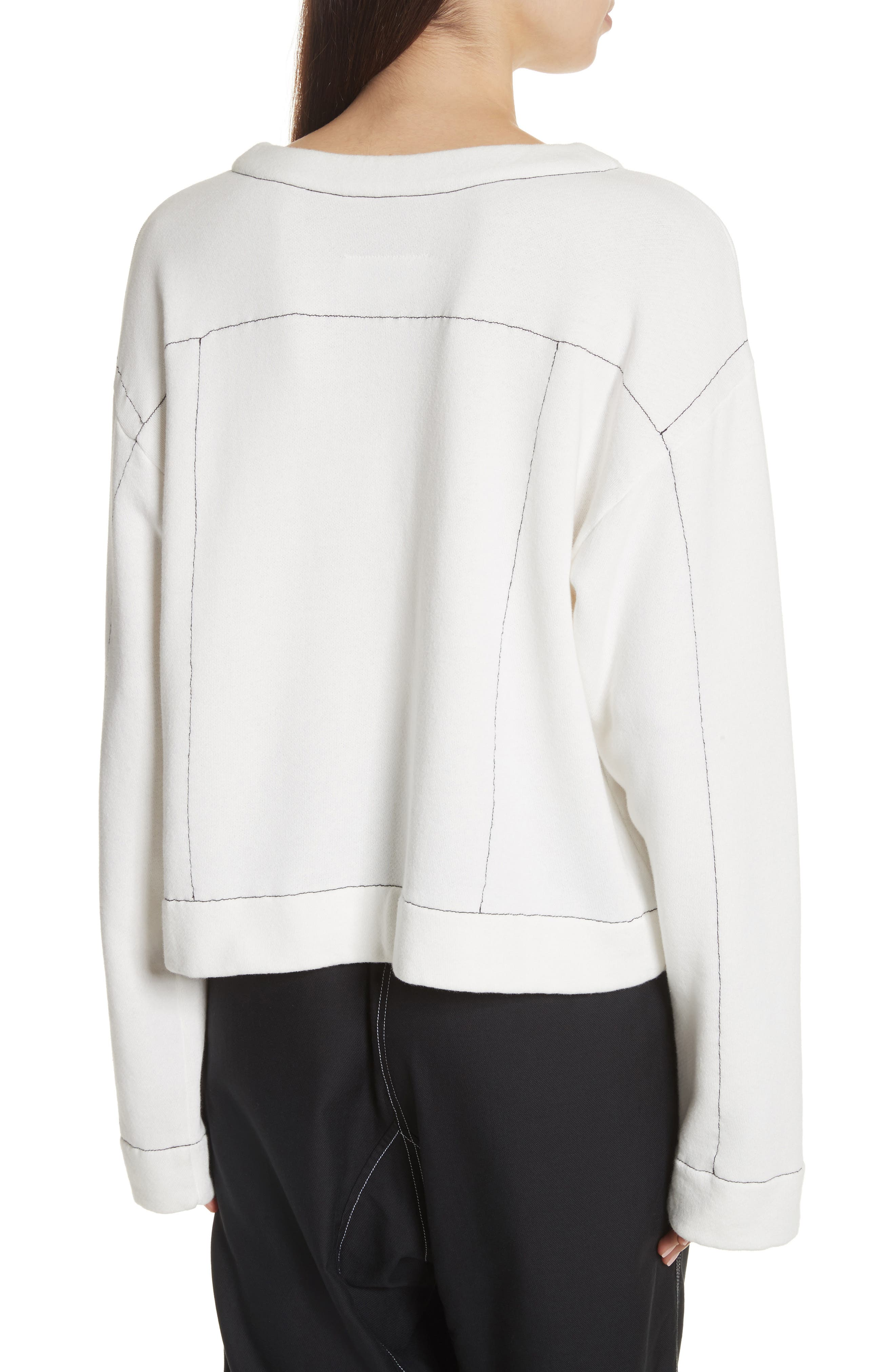 Topstitch Sweater,                             Alternate thumbnail 2, color,                             Off White