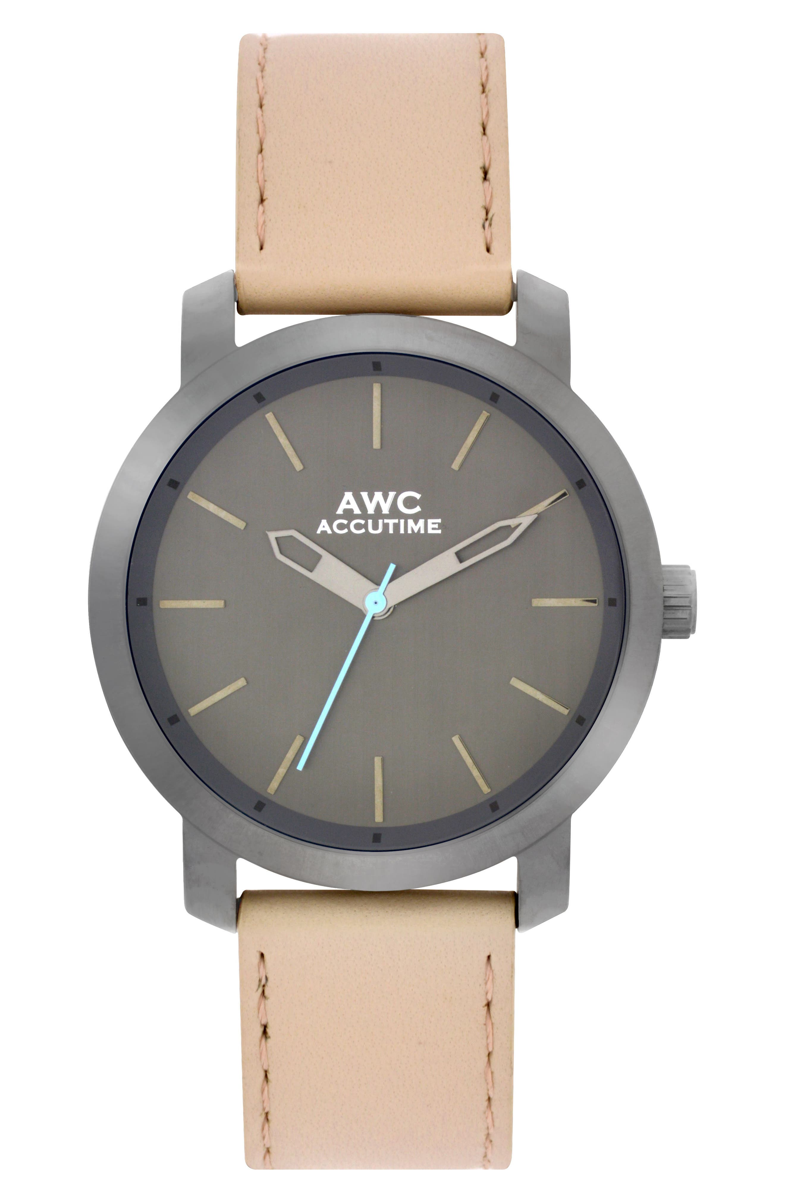 Accutime Mark Leather Strap Watch, 45mm