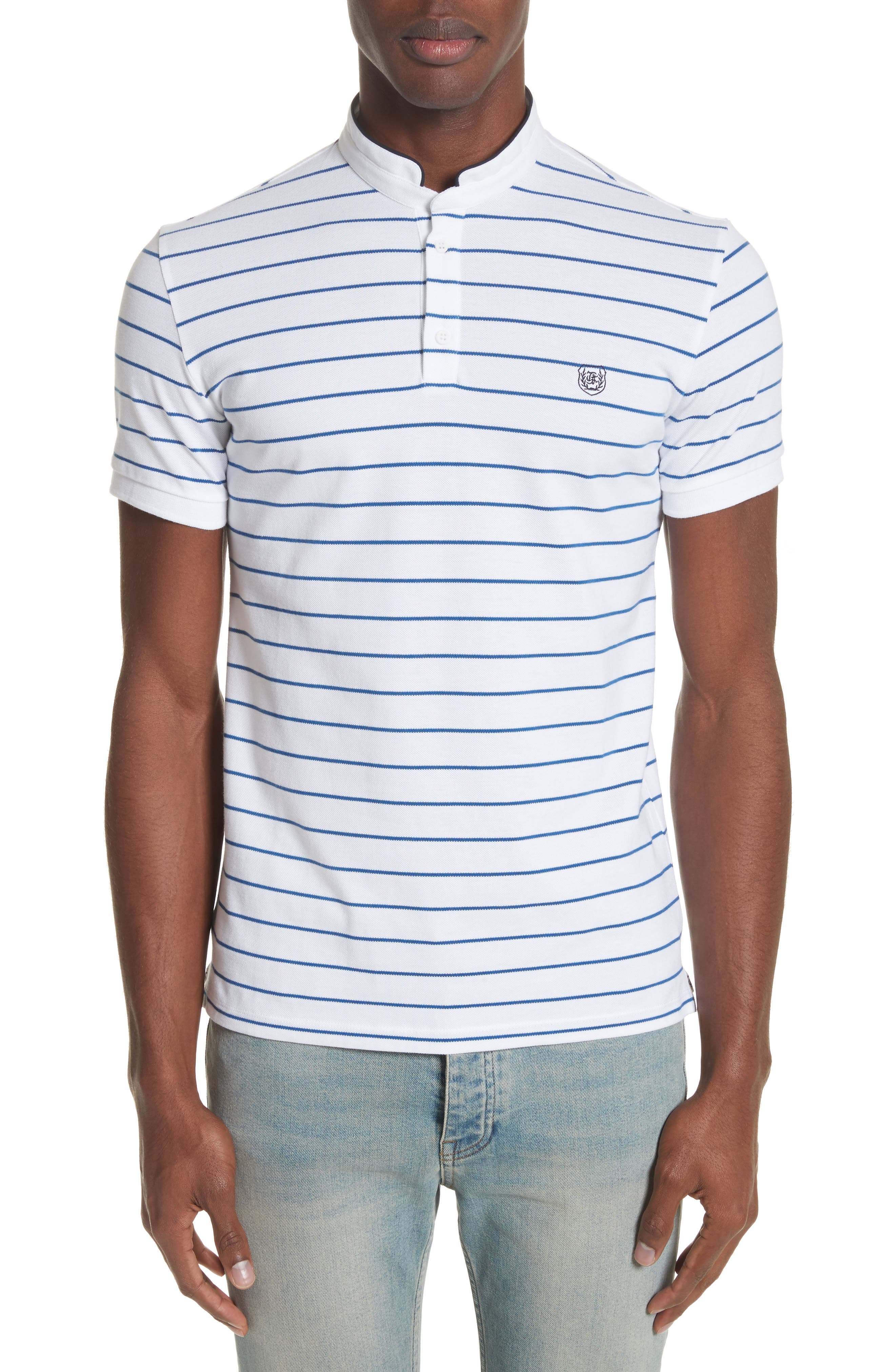 The Kooples Stripe Officer Polo Shirt In White Modesens