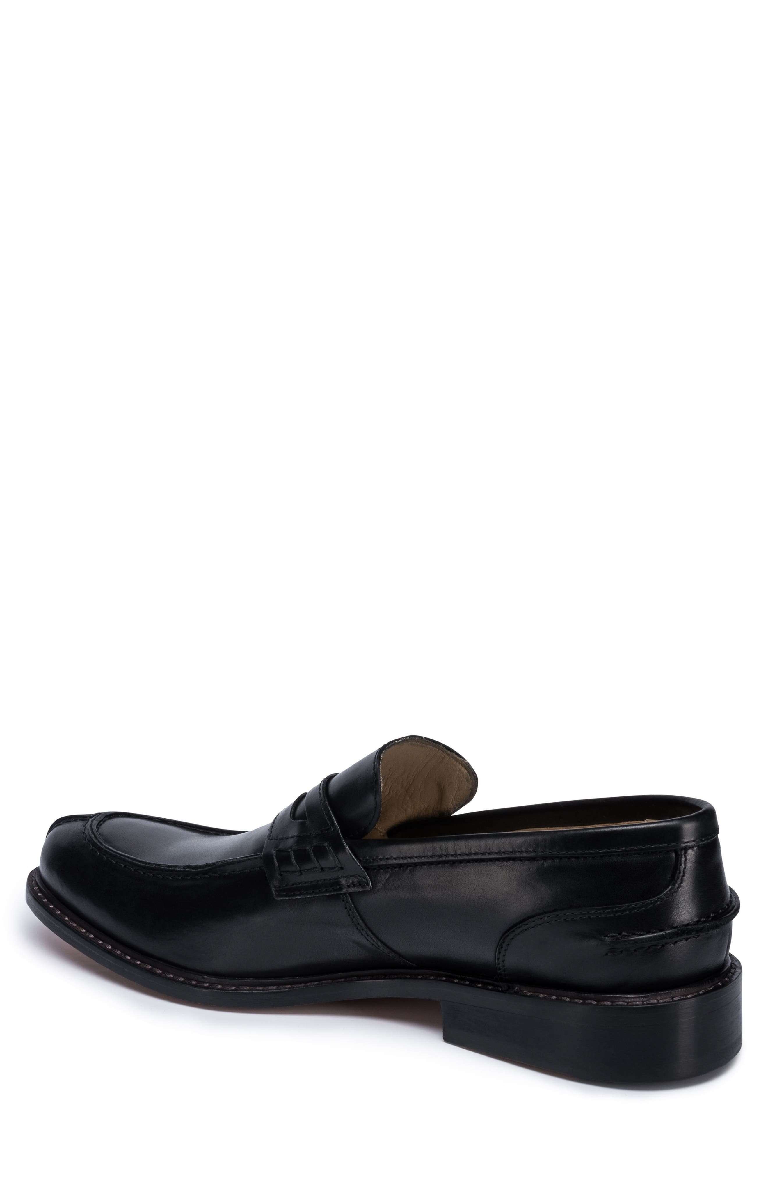 Apron Toe Penny Loafer,                             Alternate thumbnail 2, color,                             Nero Leather