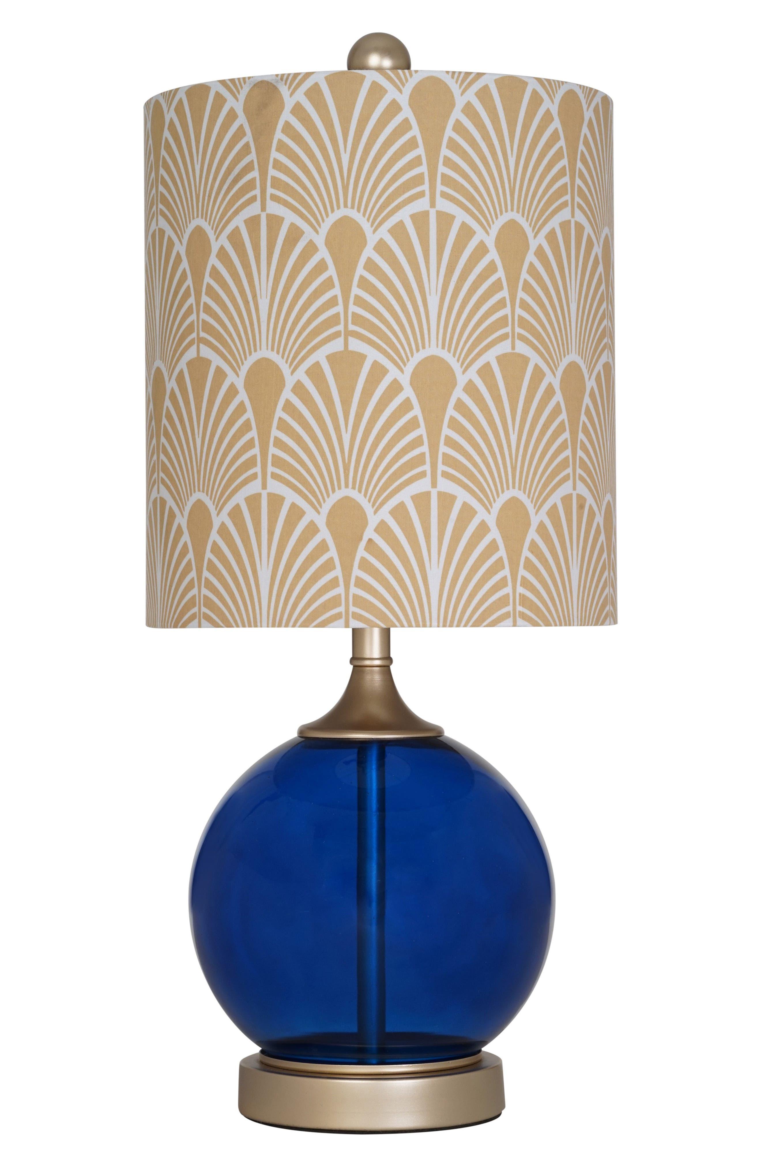 Blue Glass Table Lamp,                             Main thumbnail 1, color,                             Dark Blue