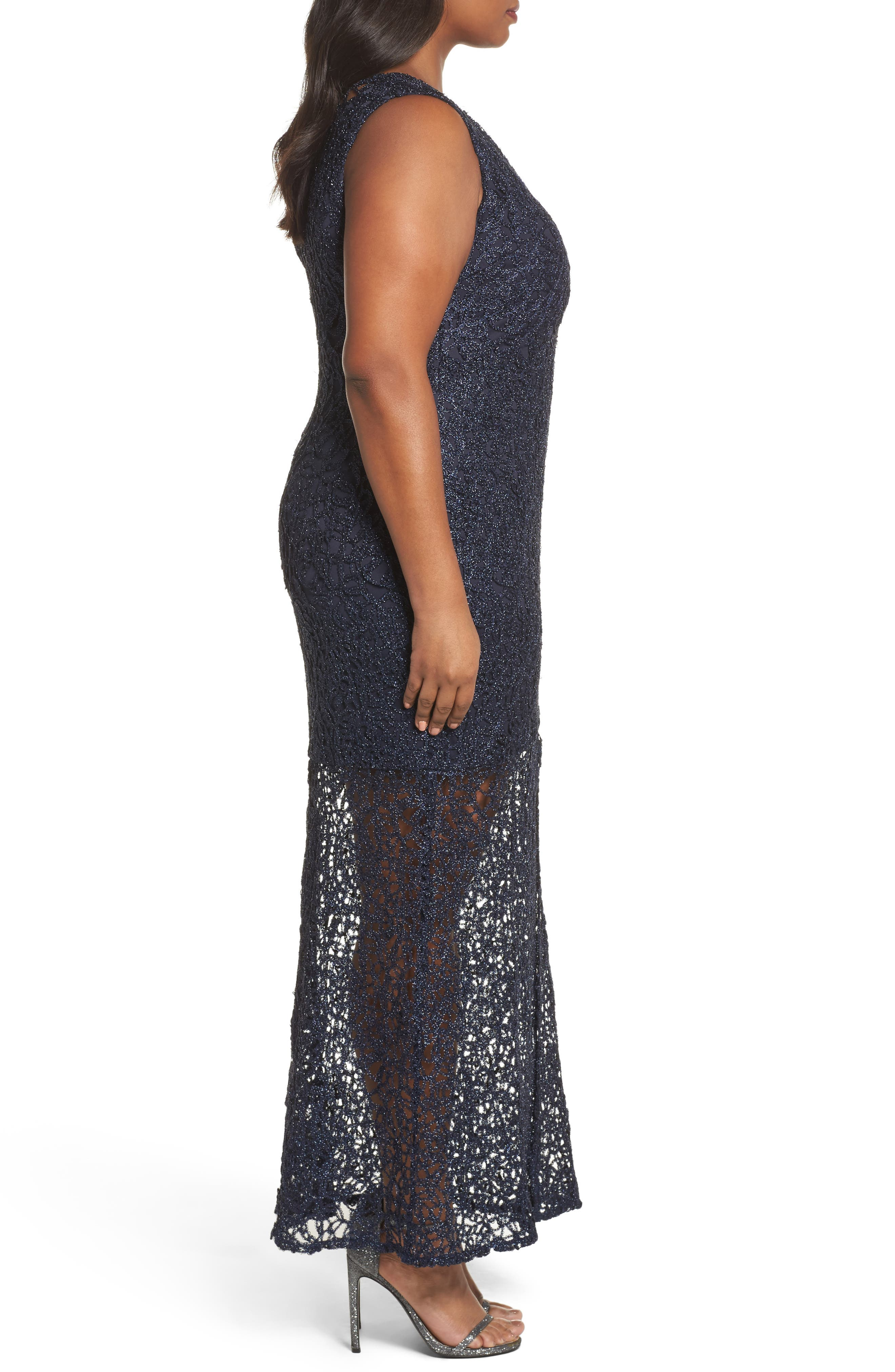Illusion Lace Gown,                             Alternate thumbnail 3, color,                             Navy