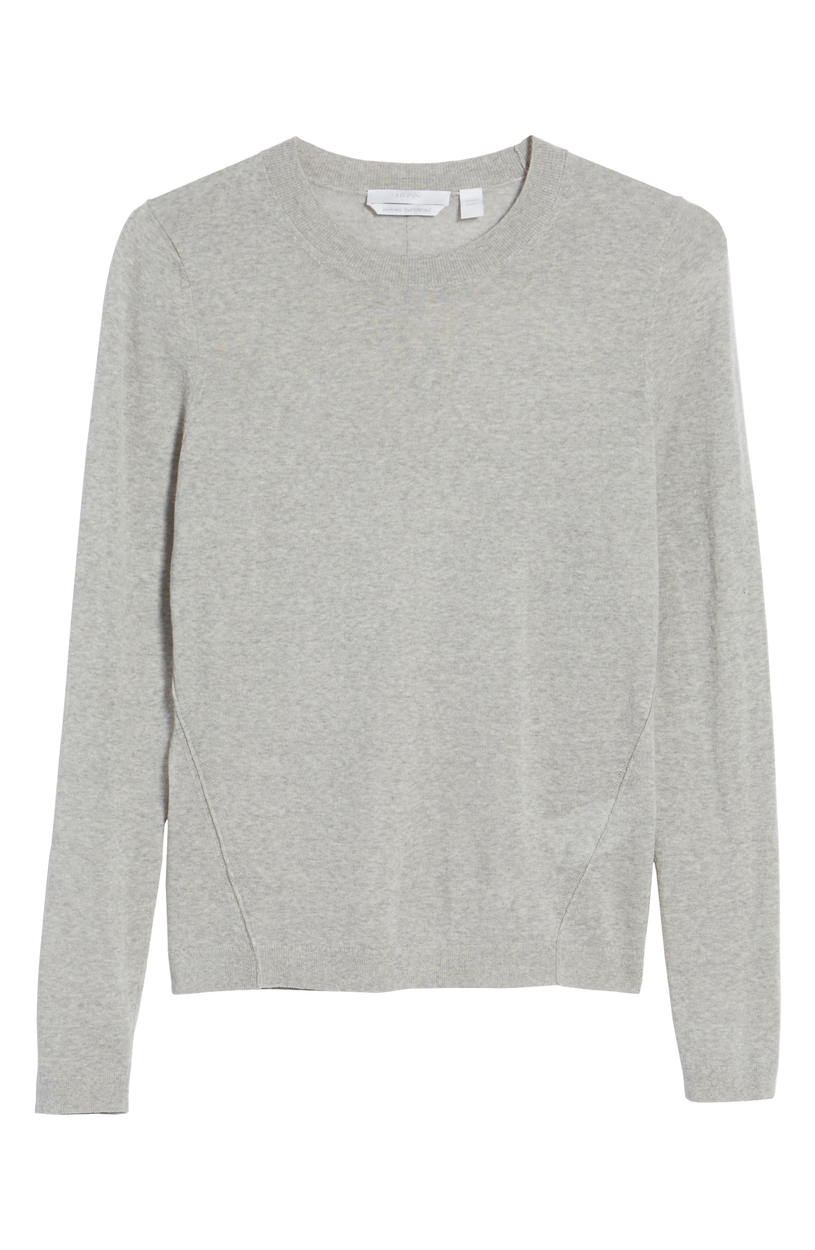 Fayme Wool Crewneck Sweater,                             Alternate thumbnail 6, color,                             Cozy Grey Melange