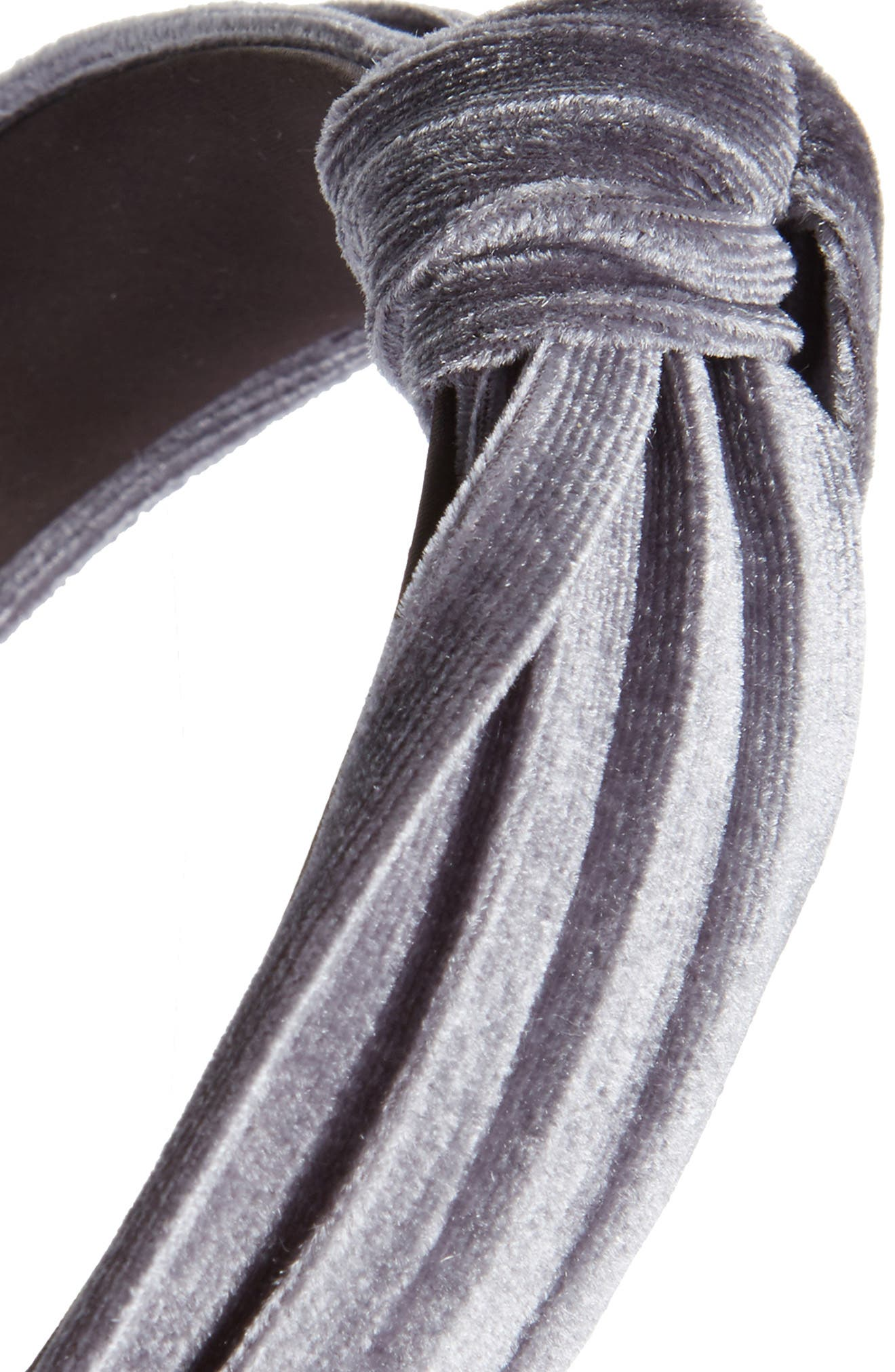 Velvet Knot Headband,                             Alternate thumbnail 2, color,                             Grey