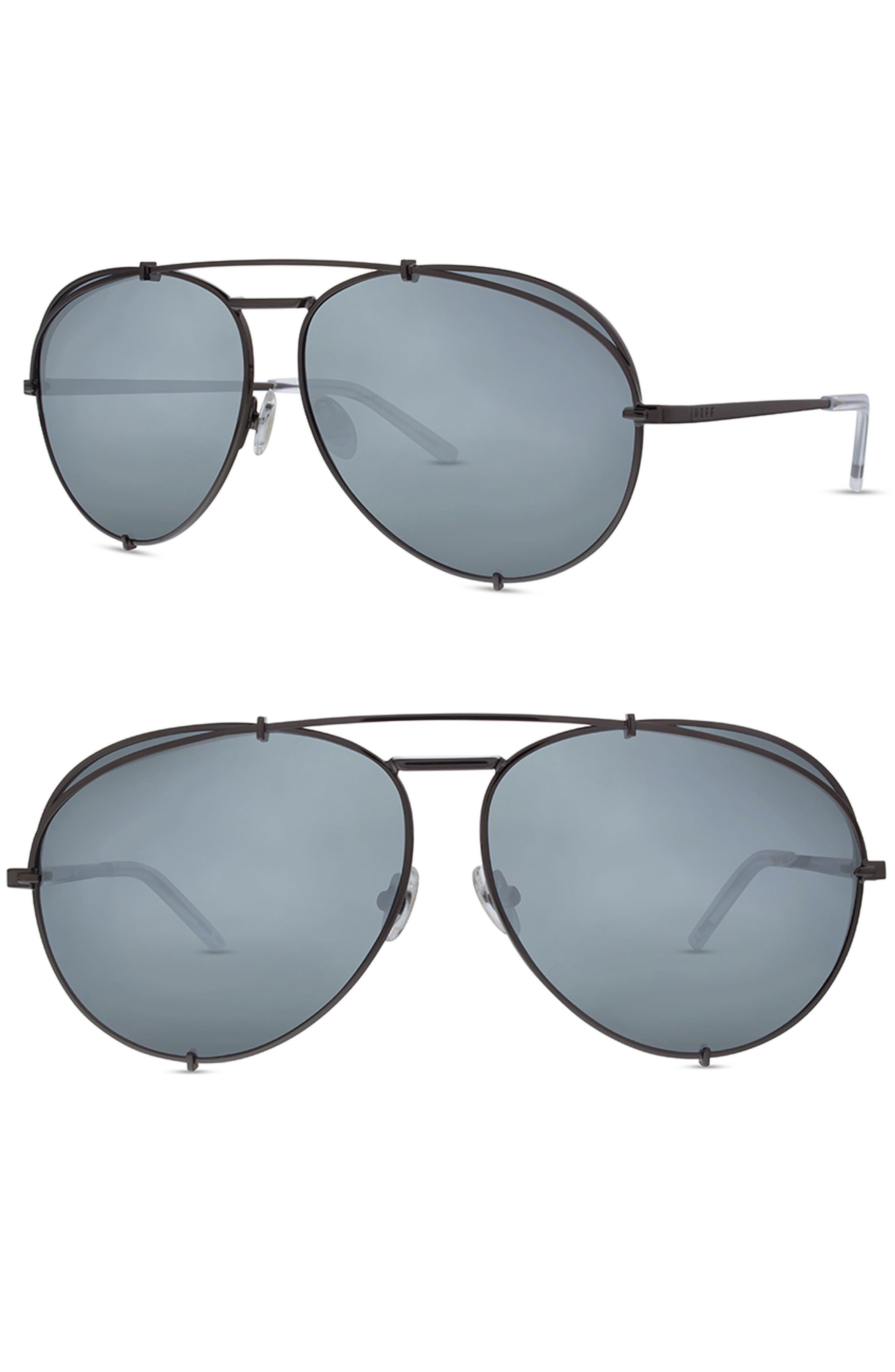 x Khloé Koko 63mm Oversize Aviator Sunglasses,                         Main,                         color, Light Gunmetal/ Silver