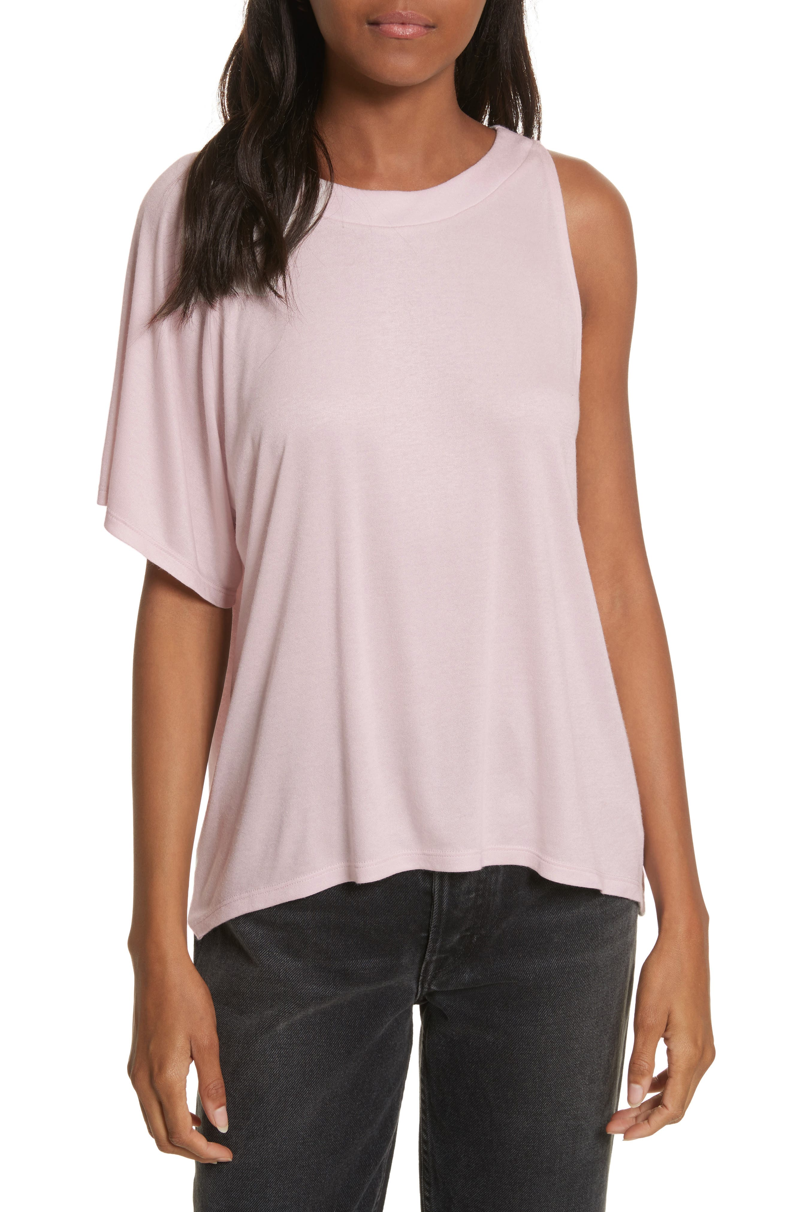 Willow Shine Jersey One-Shoulder Top,                             Main thumbnail 1, color,                             Pale Pink